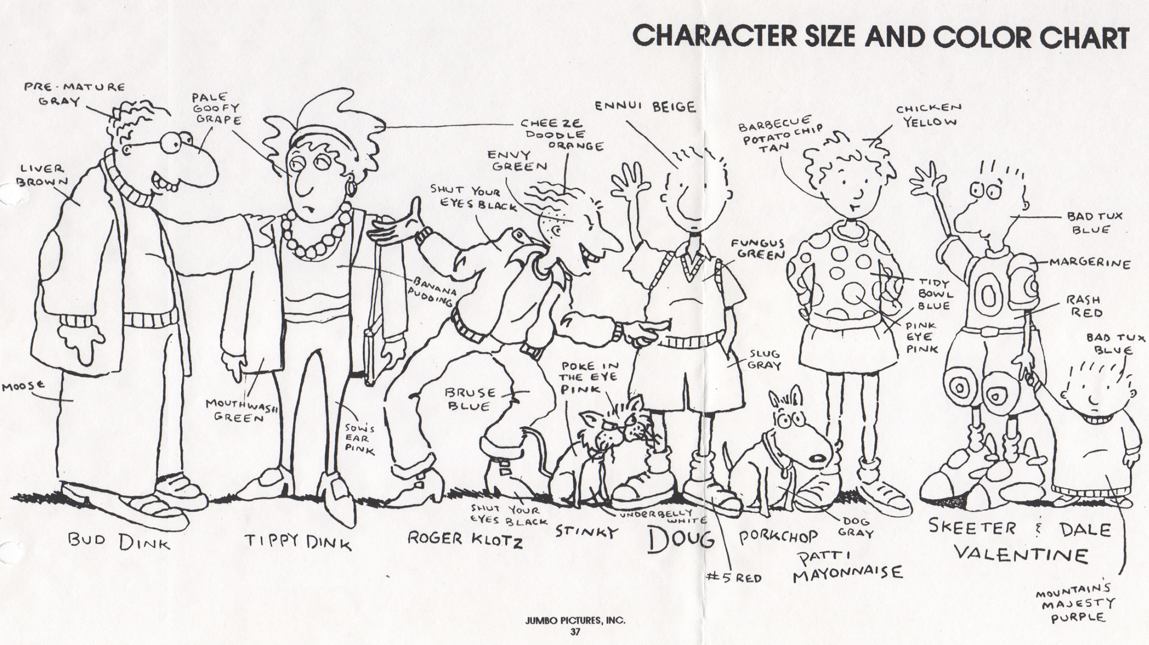"""""""Doug"""" character designs from the show's production bible."""