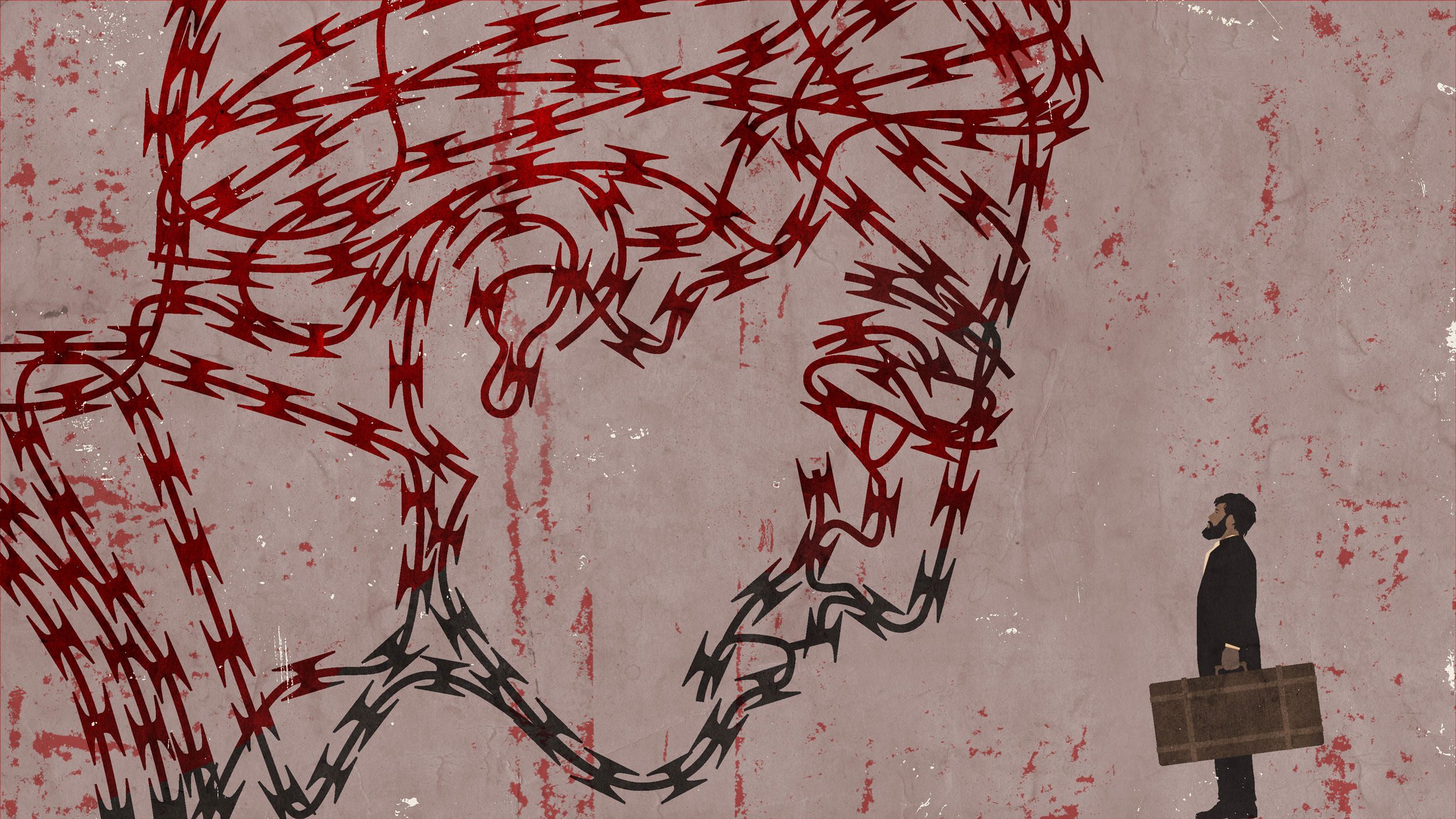 A large face made out of a razor wire blocks a man holding a suitcase in this illustration.