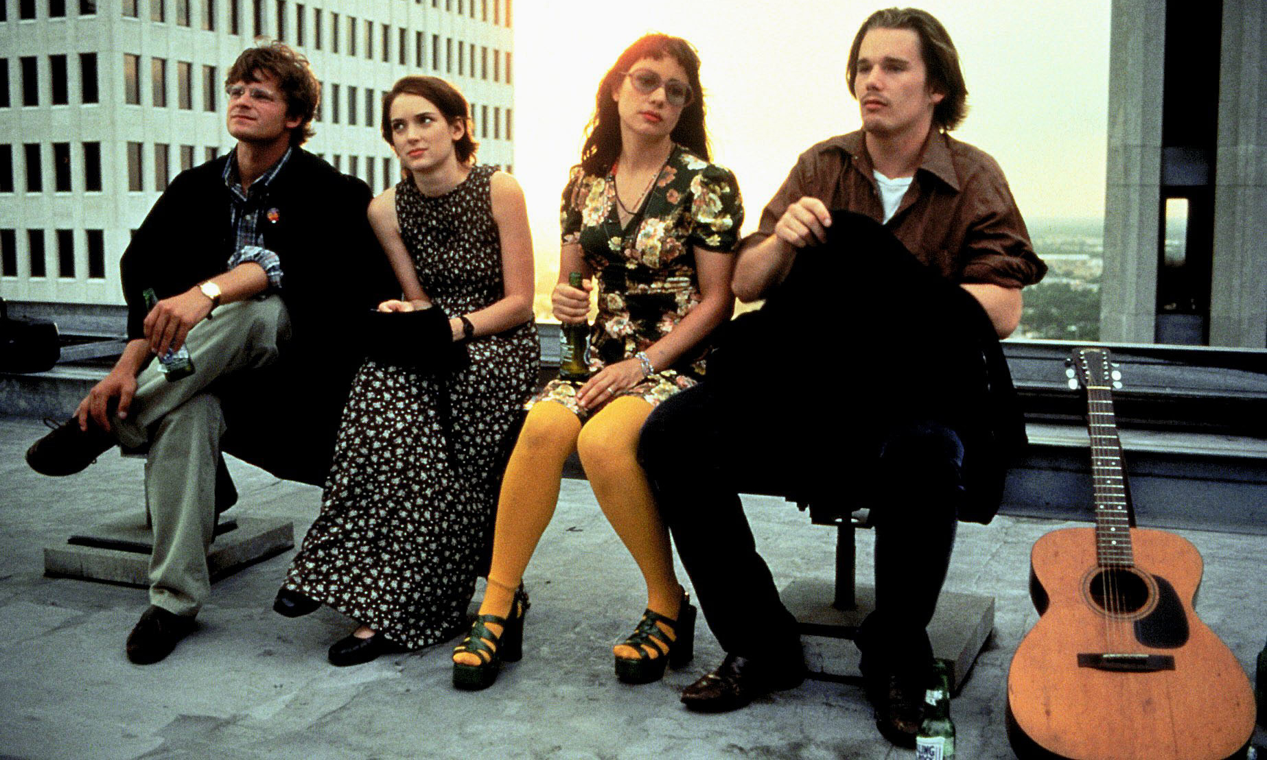 "Steve Zahn, Winona Ryder, Janeane Garofalo and Ethan Hawke in the 1994 movie ""Reality Bites."""