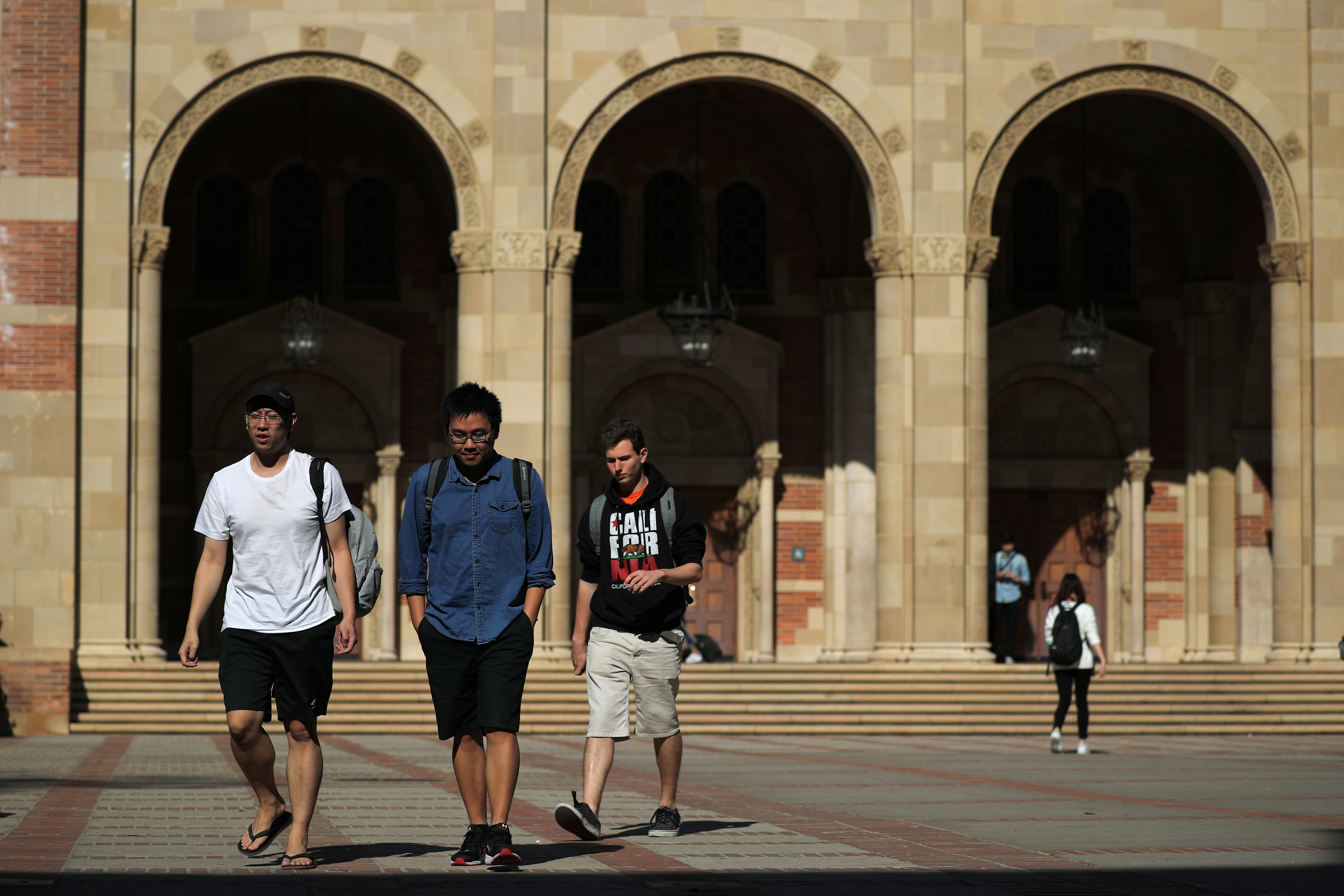 Students walking on the UCLA campus.