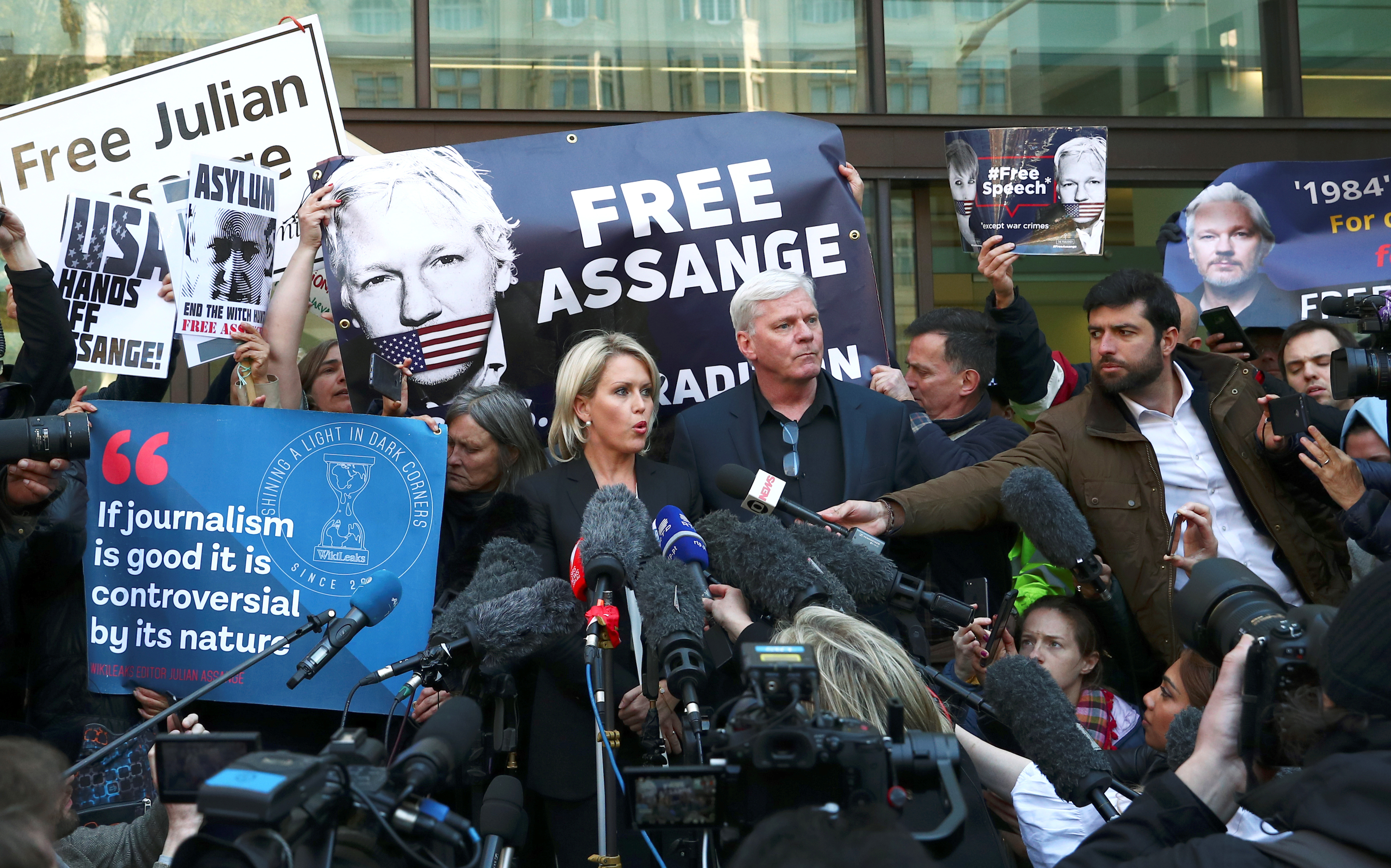 Kristinn Hrafnsson, editor in chief of Wikileaks, and barrister Jennifer Robinson talk to the media outside the Westminster Magistrates Court after WikiLeaks founder Julian Assange was arrested in London, Britain, April 11, 2019.