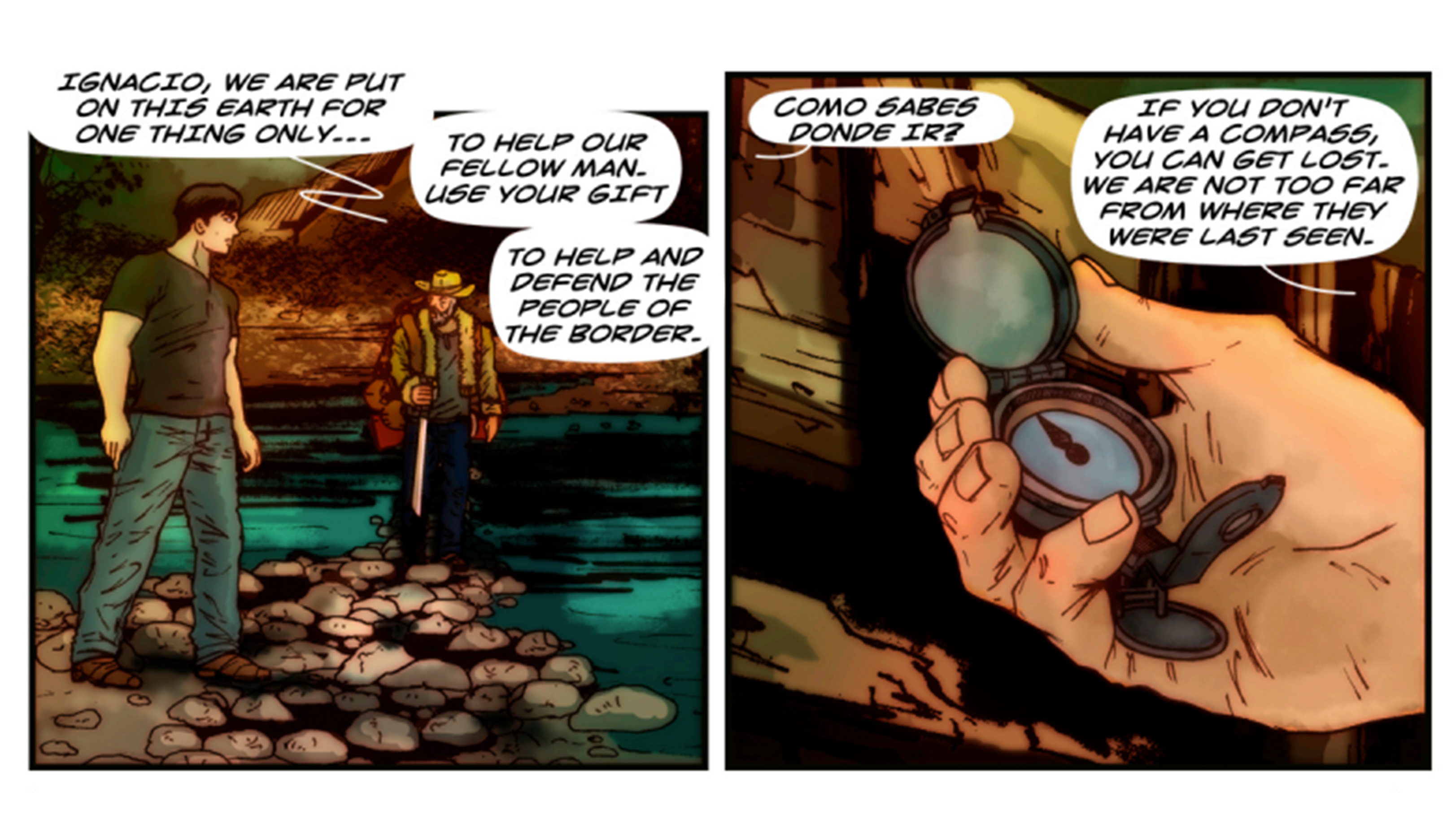 A comic book panel: one of two men, one of a hand holding a compass.