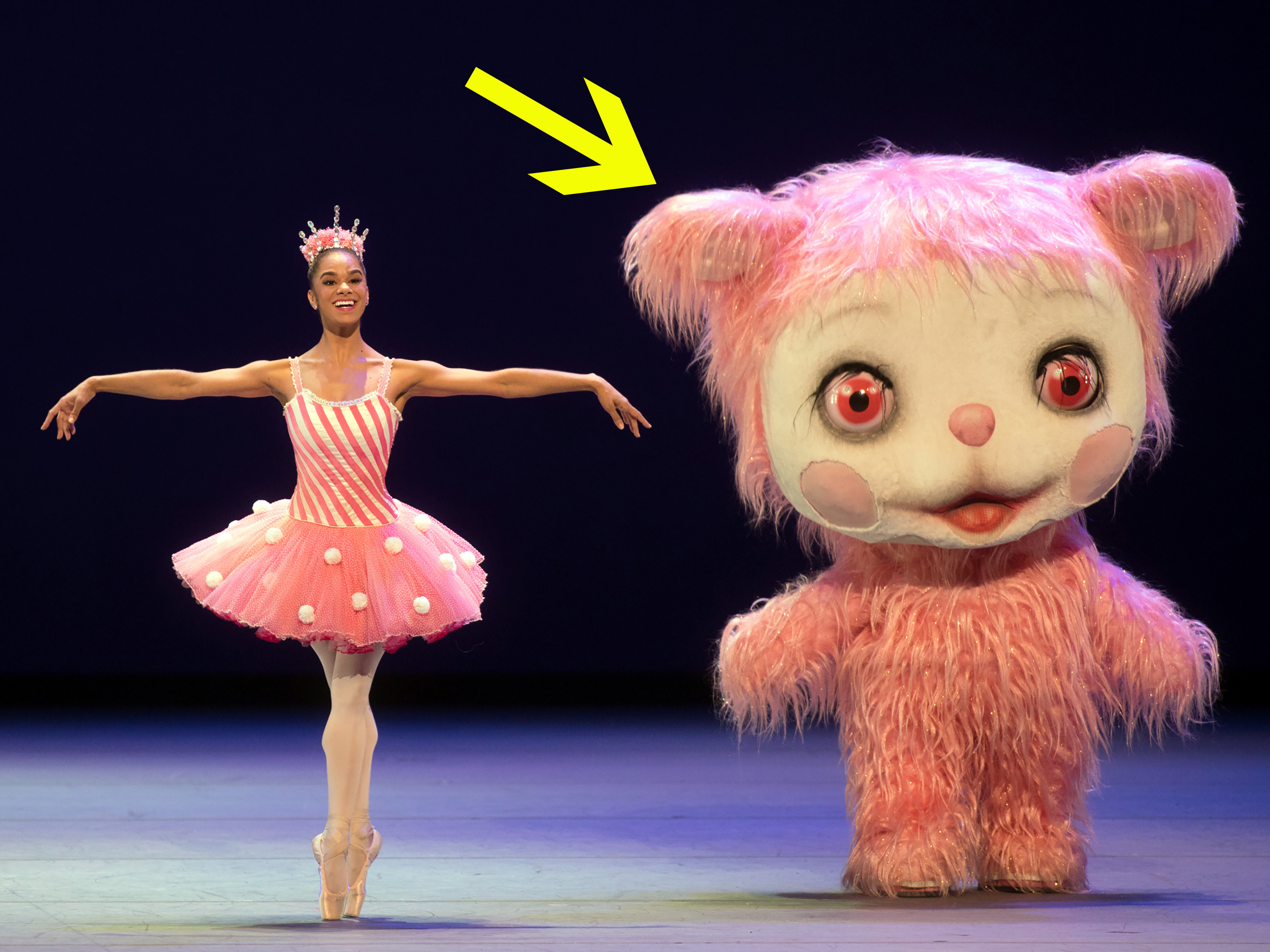 """Iggy Berlin as The Pink Yak with Misty Copeland in """"Whipped Cream."""""""