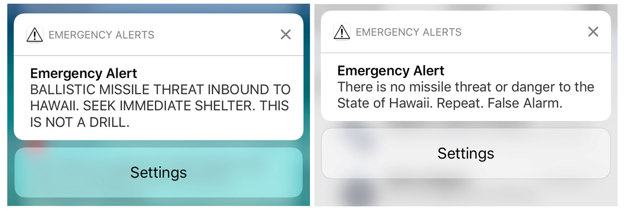 Screen shots of a warning message and a false alarm