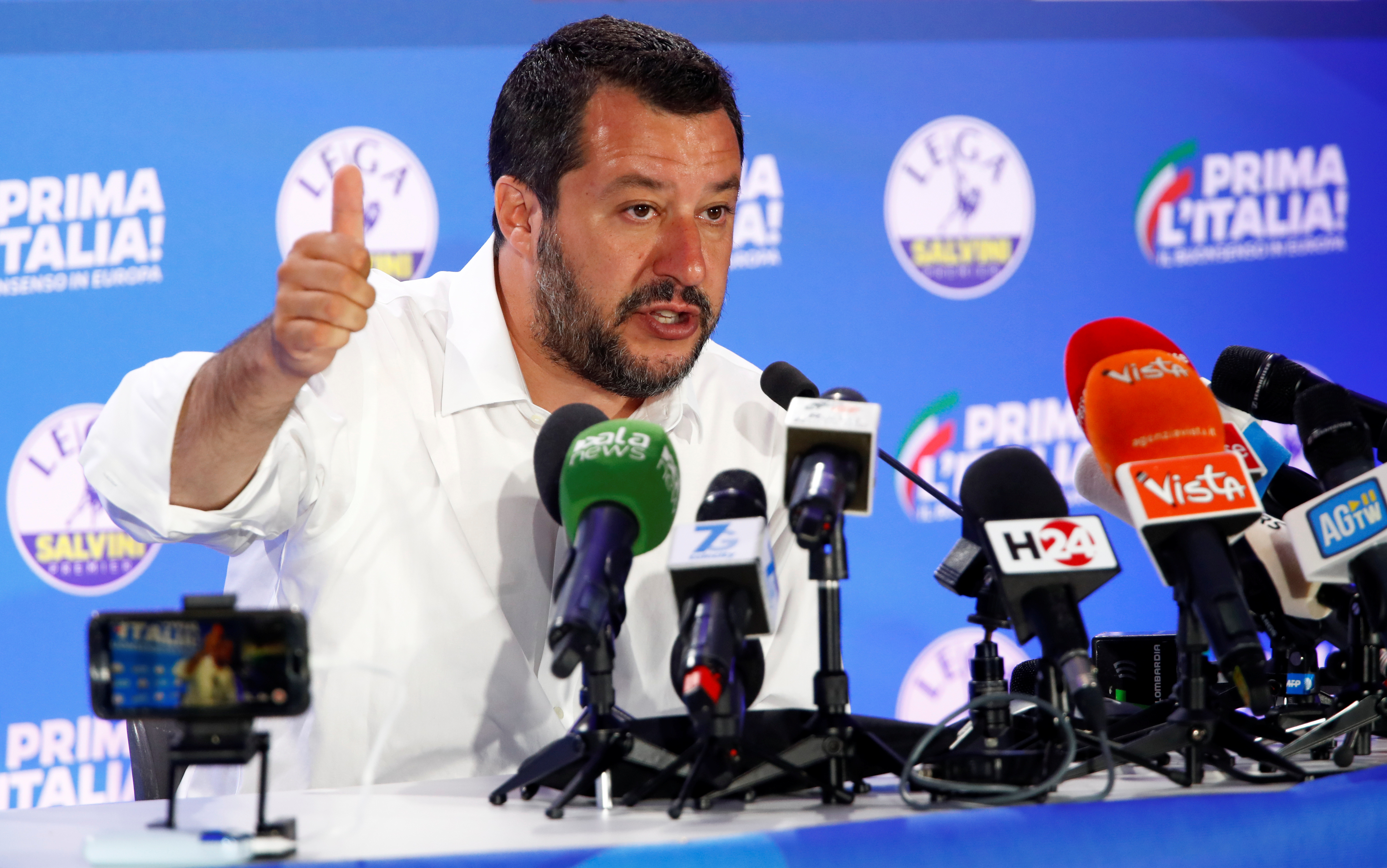 Deputy Prime Minister and League party leader Matteo Salvini speaks to the media at the League party headquarters, following the results of theEuropean Parliamentelections, in Milan, Italy, May 27, 2019.