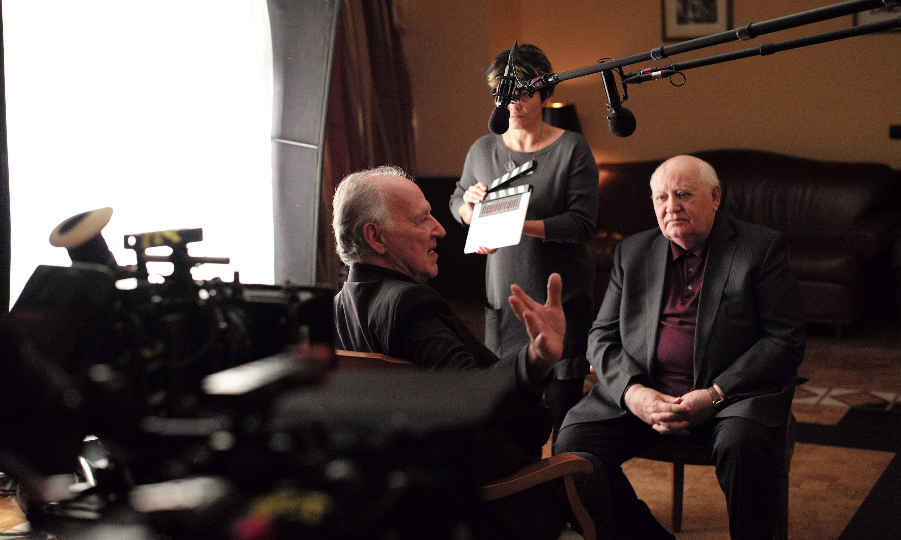 "Director Werner Herzog and former leader of the Soviet Union Mikhail Gorbachev in the new documentary ""Meeting Gorbachev."""