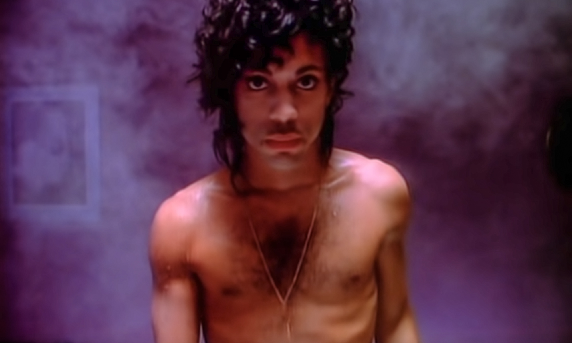 """A screenshot from Prince's music video """"When Doves Cry."""""""