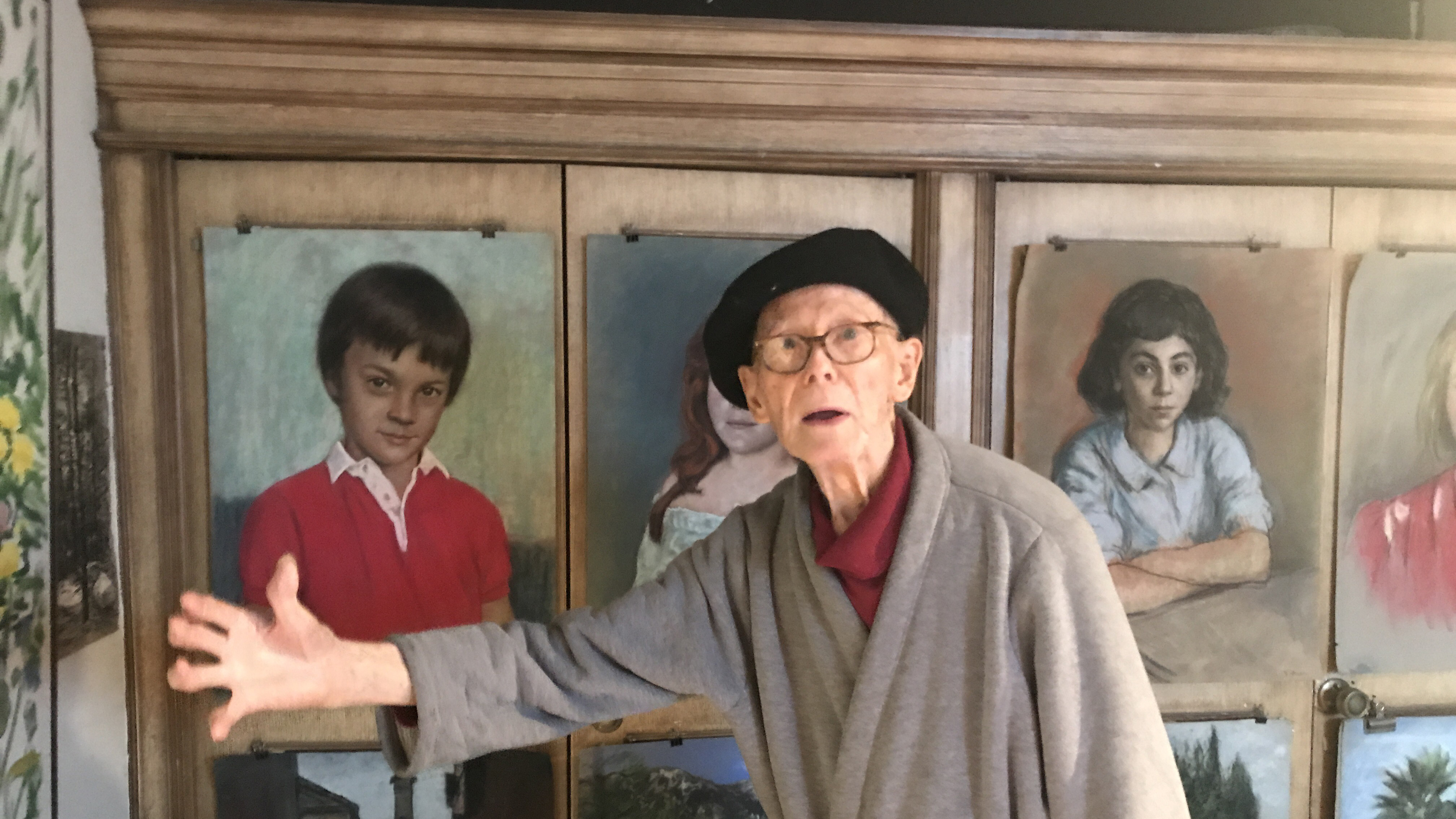 """Kalman Aron began sketching when he was 3 years old. He's now 93, and says if he didn't still paint and draw every day he would """"die of boredom."""""""
