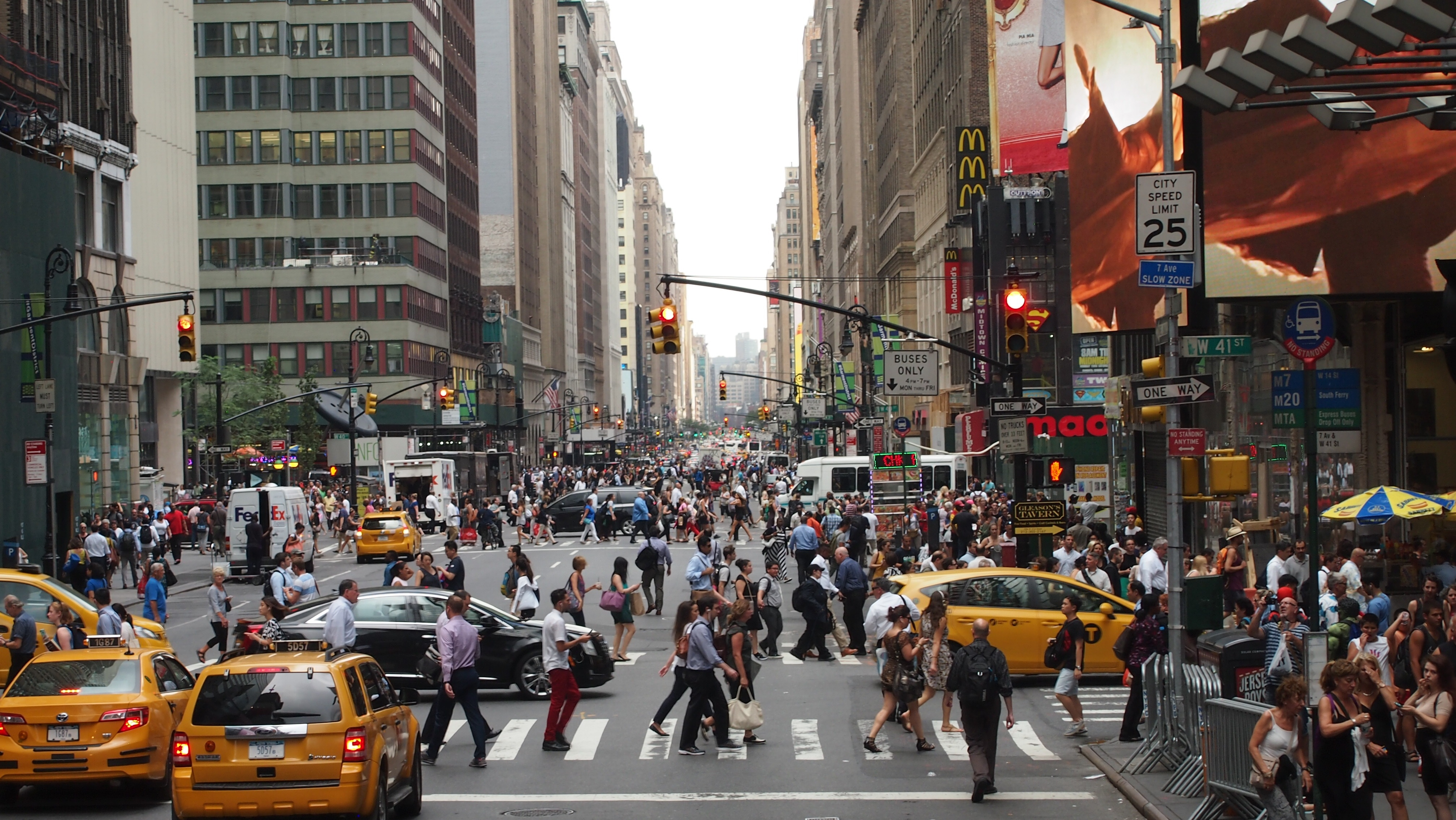 NYC traffic and pedestrians