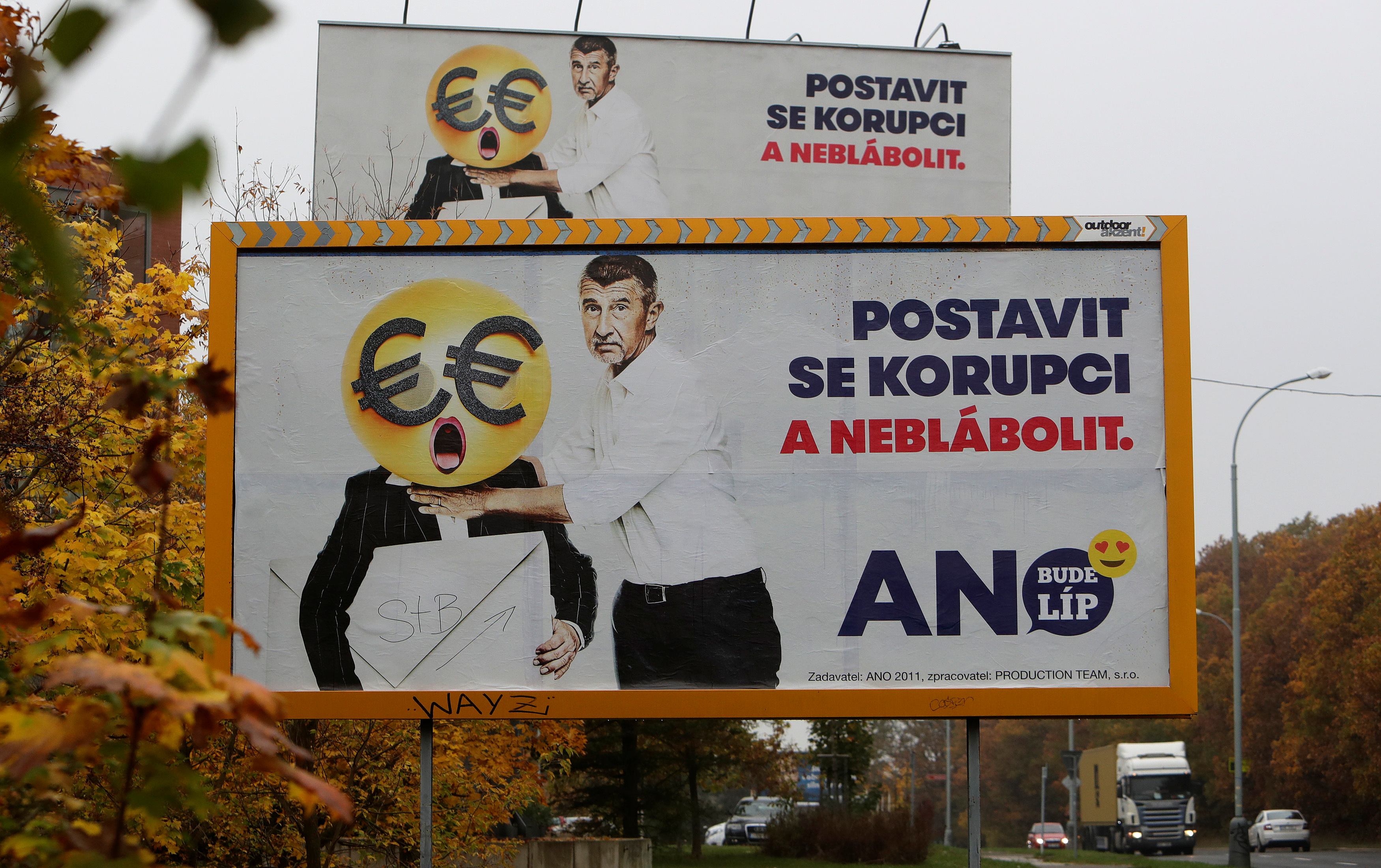 "Election campaign posters for the leader billionaire politician Andrej Babis in Prague, Czech Republic, reading: ""Stand up against corruption and stop babbling."""