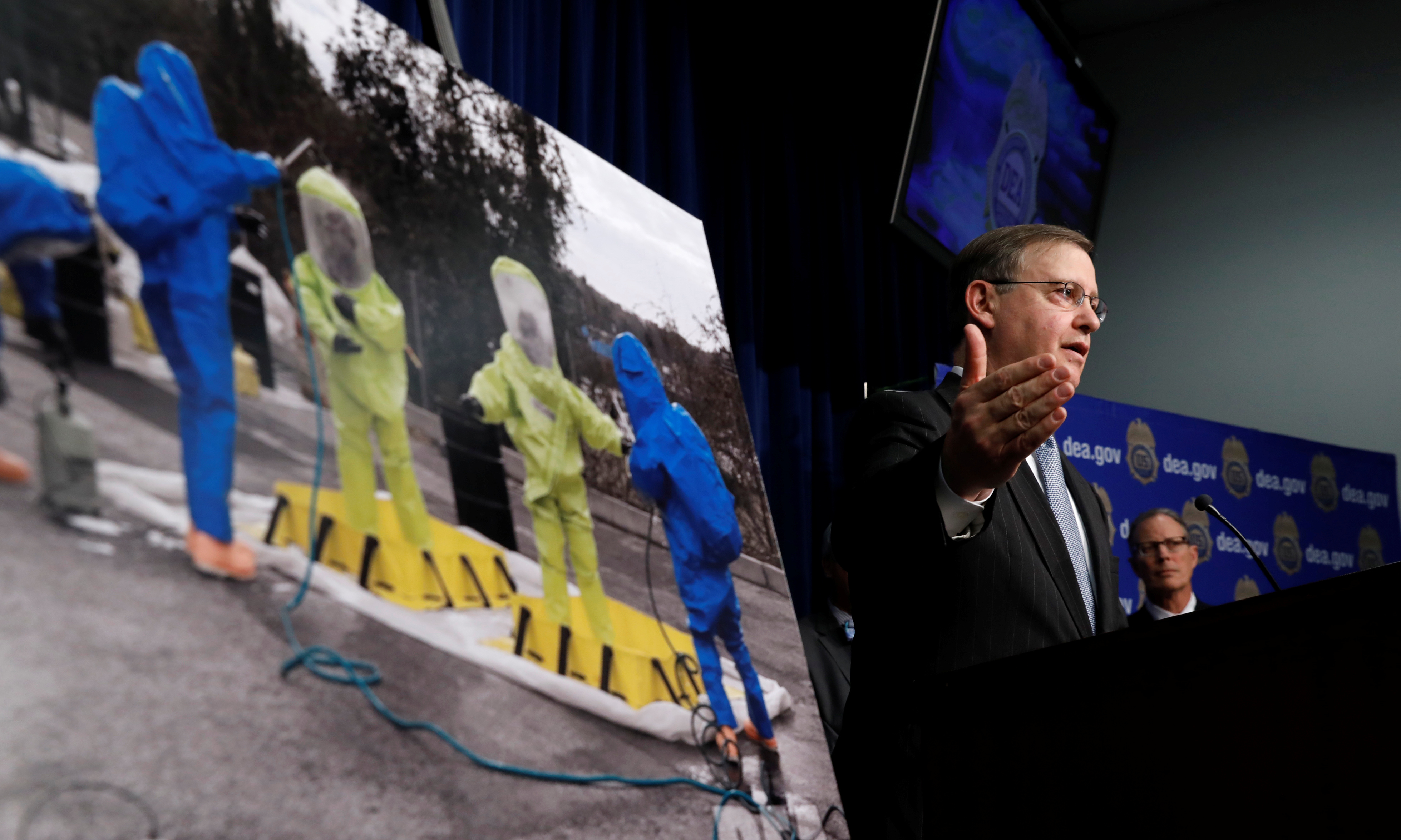 Acting DEA Administrator Chuck Rosenberg speaks during a news conference on the dangers law enforcement and first responders face when encountering fentanyl at DEA Headquarters in Arlington, Virginia, U.S., June 6, 2017.