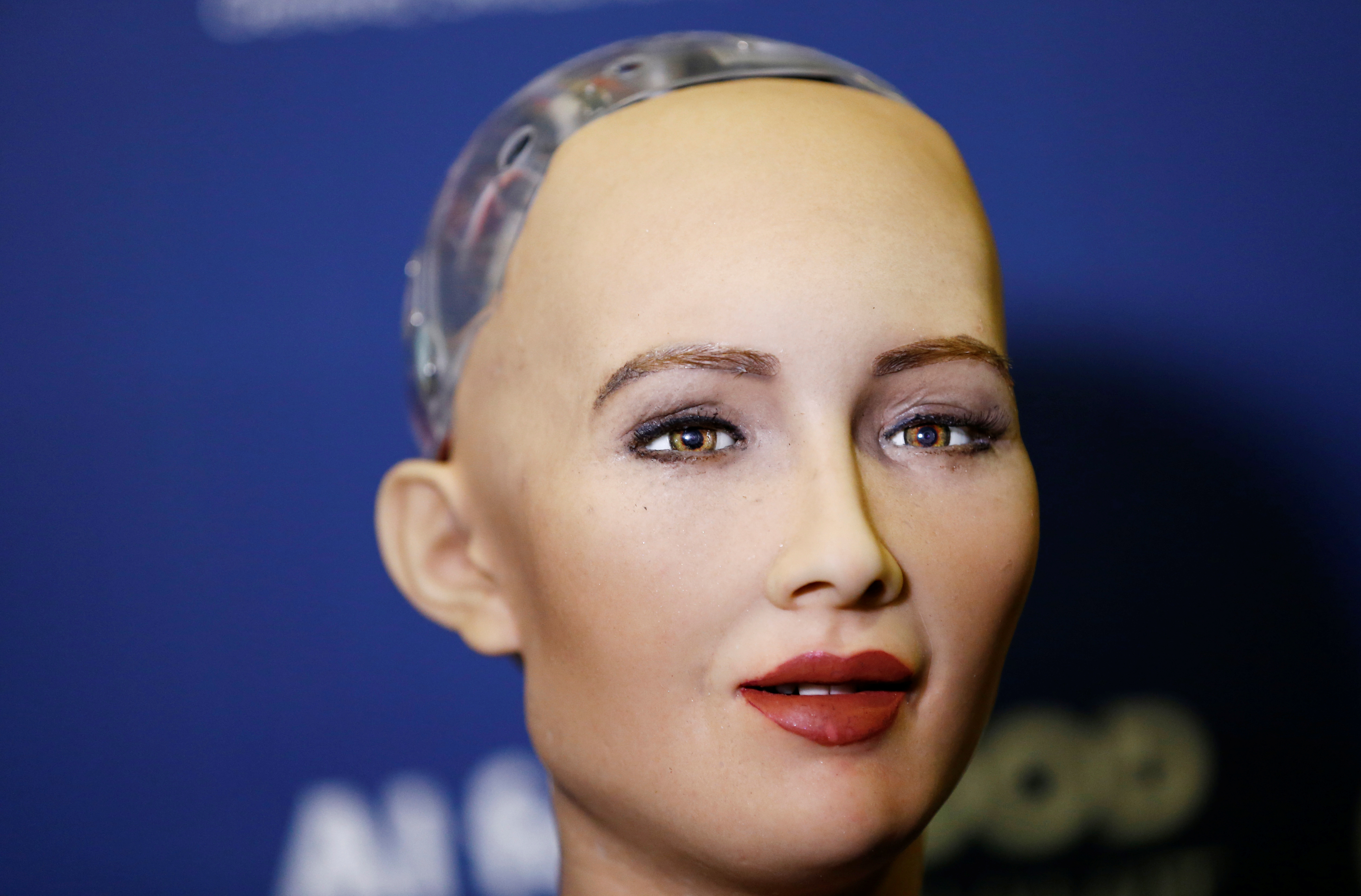 """Sophia, a robot integrating the latest technologies and artificial intelligence developed by Hanson Robotics is pictured during a presentation at the """"AI for Good"""" Global Summit at the International Telecommunication Union (ITU) in Geneva, Switzerland Jun"""