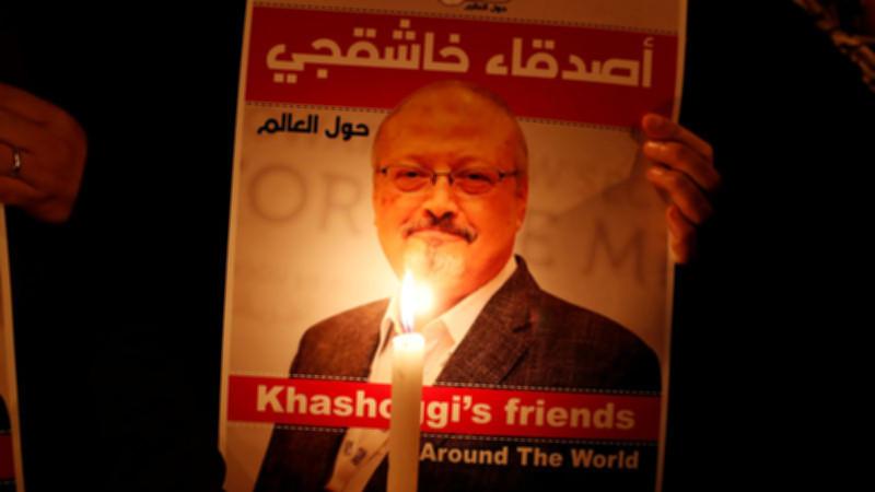People attend a symbolic funeral prayer for Saudi journalist Jamal Khashoggi