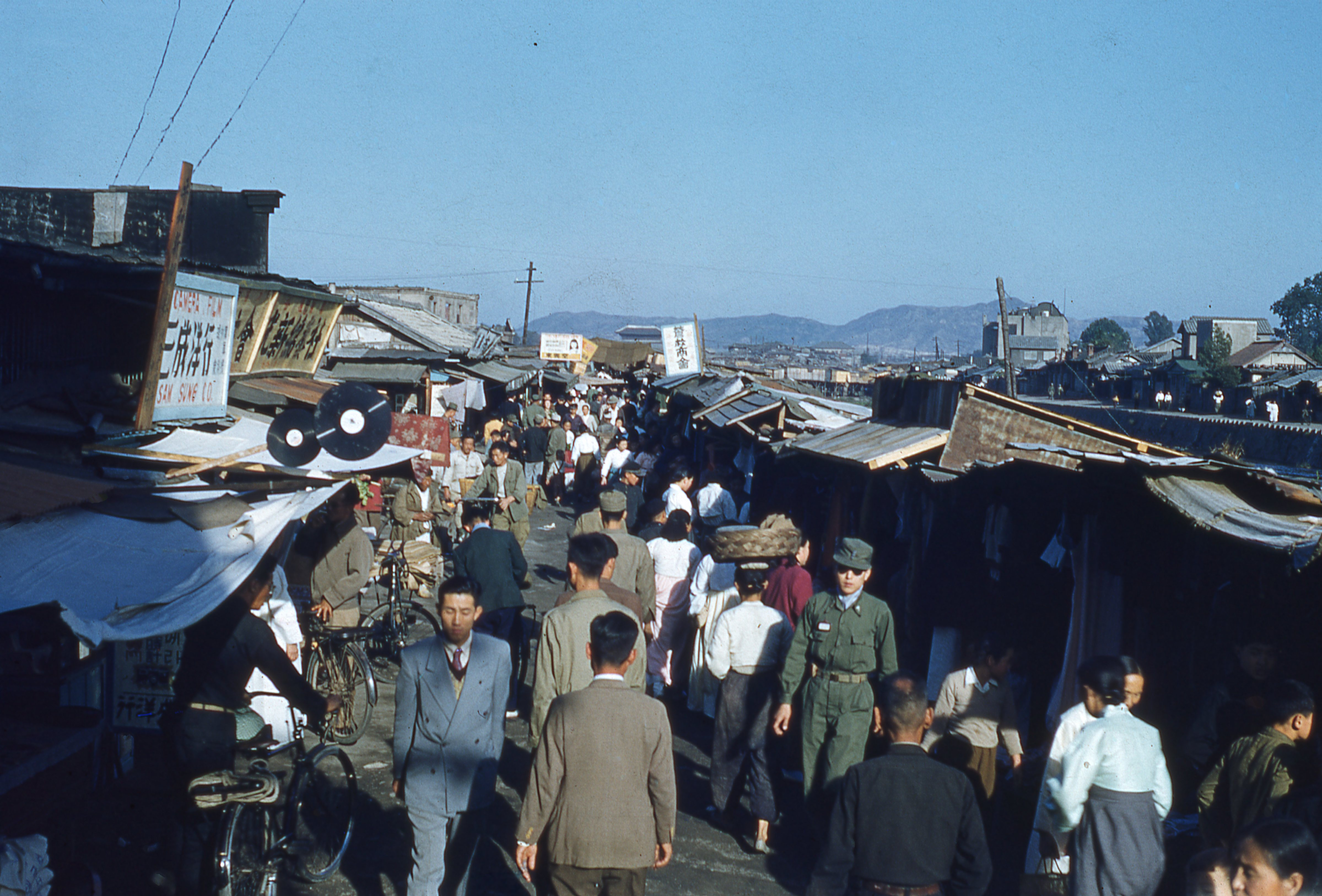 a market in Seoul, South Korea, in the 1950s