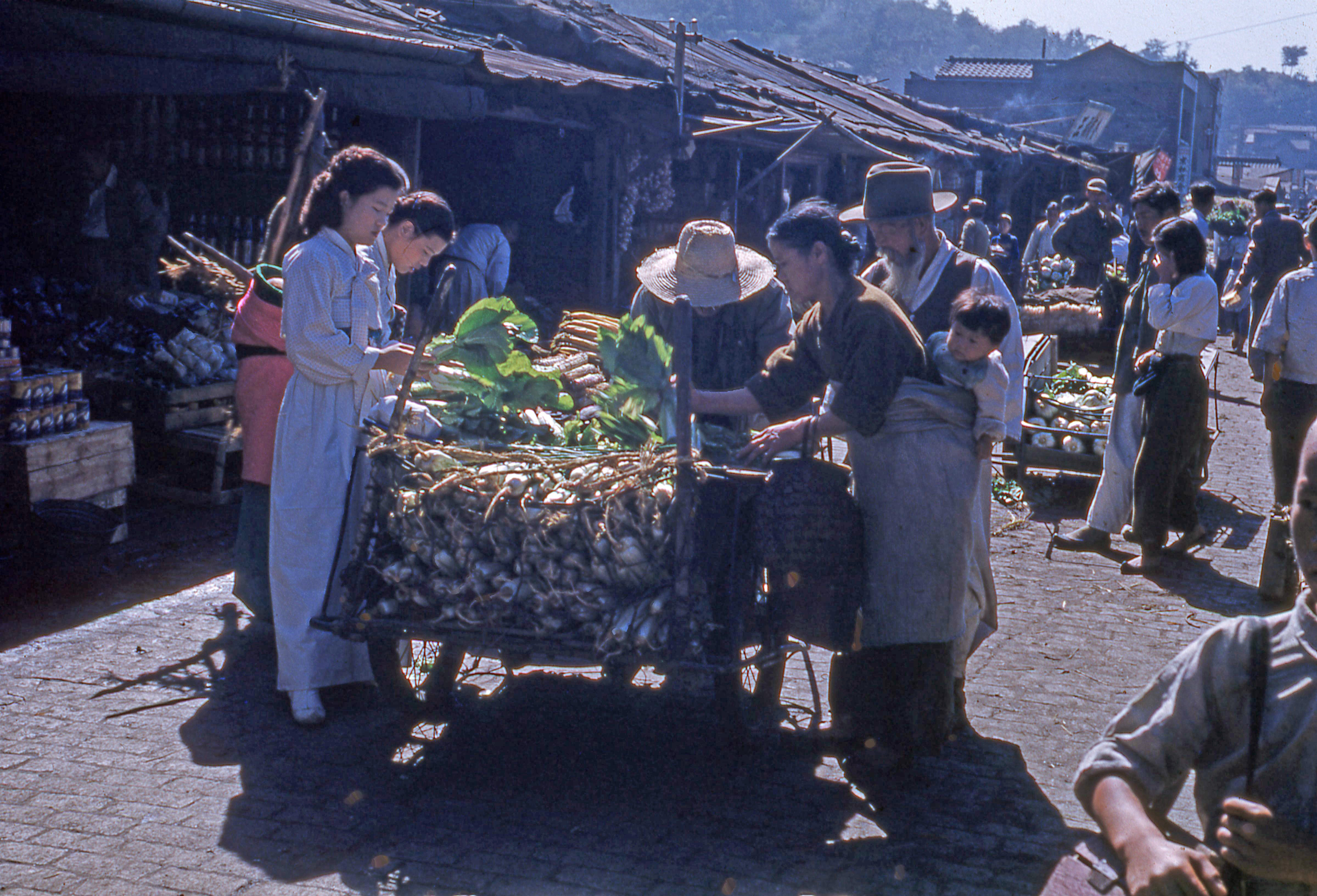 buying food from a pushcart in korea