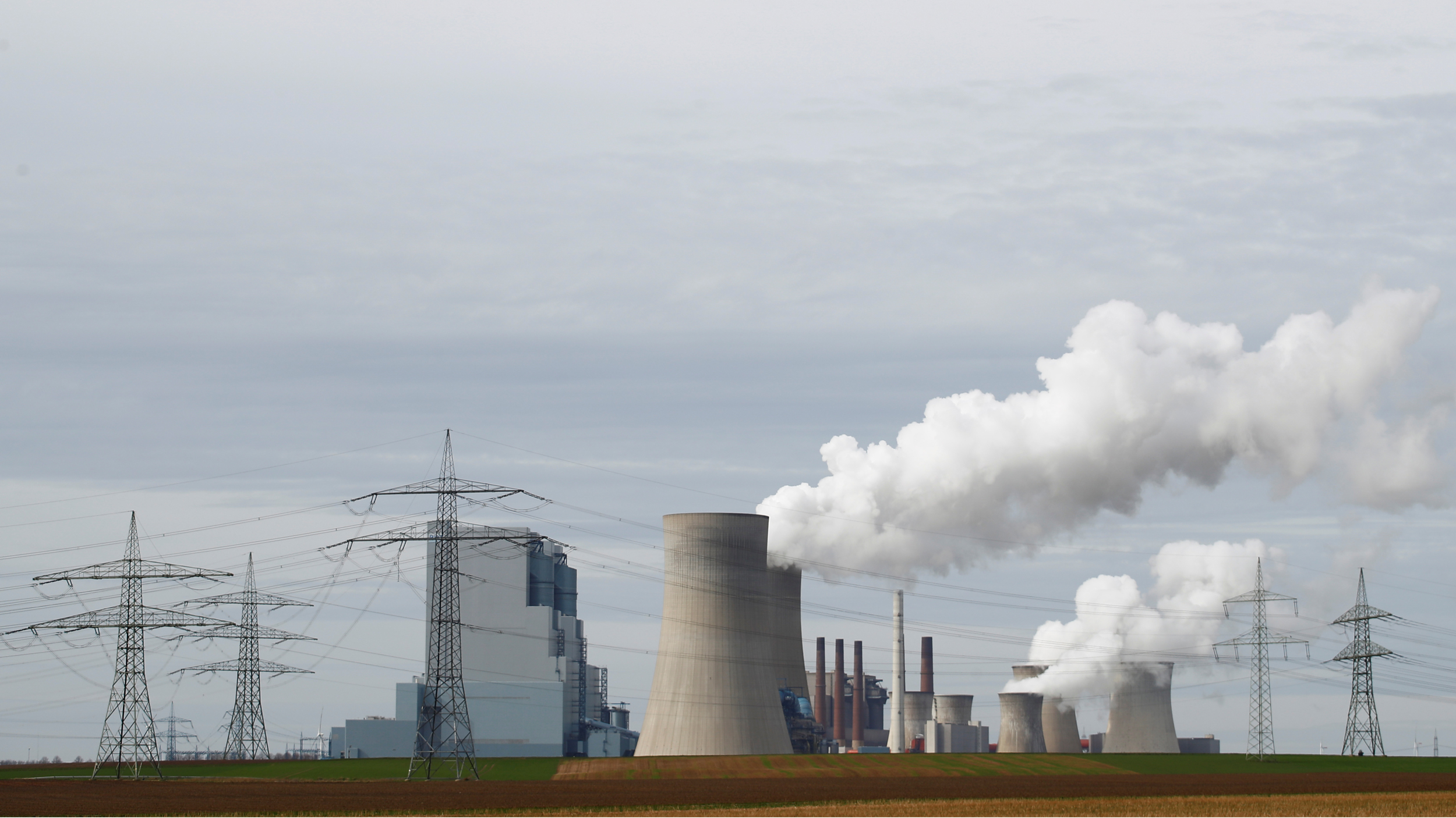 Steam rises from a power plant
