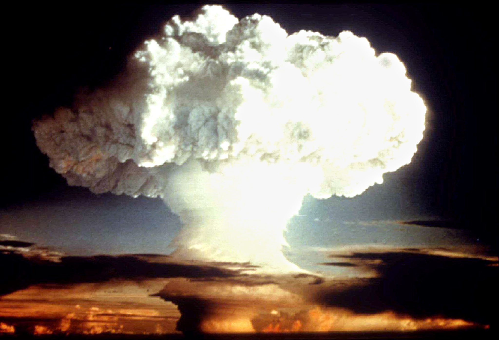 A mushroom cloud from a nuclear bomb.