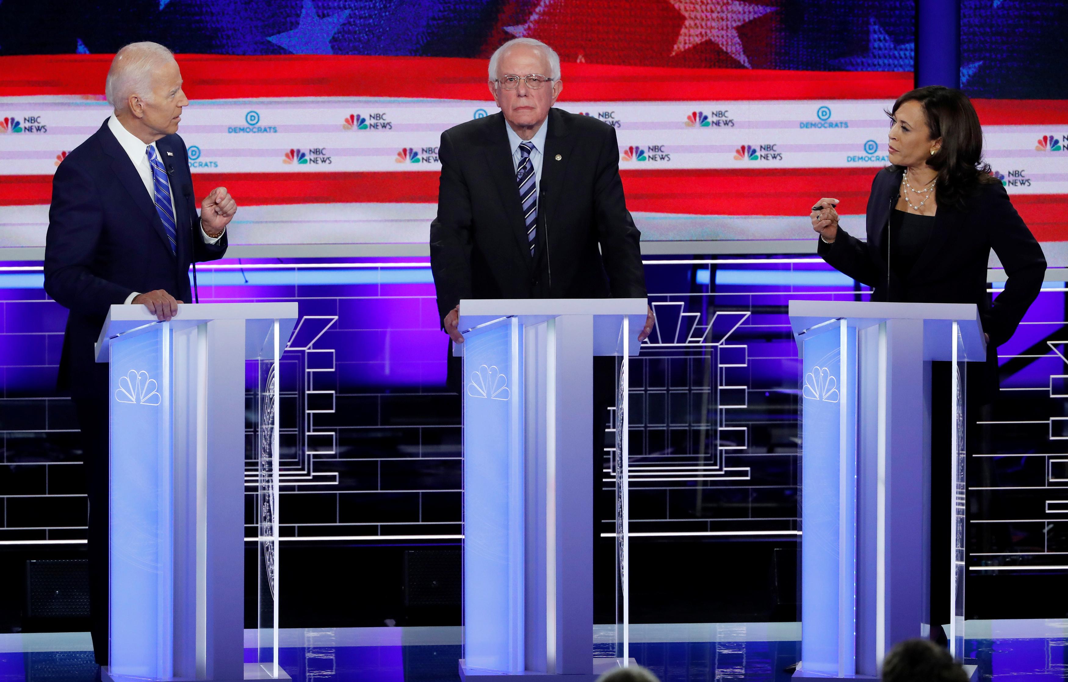 Joe Biden, Bernie Sanders, and Kamala Harris at a Democratic primary debate.