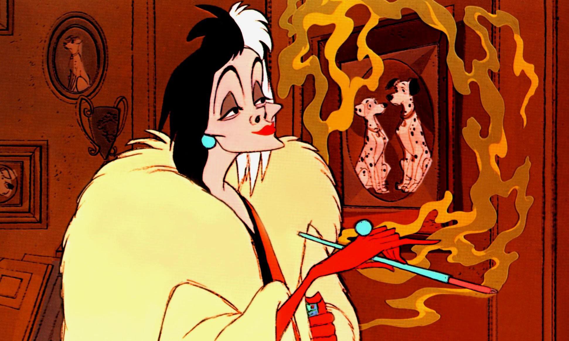 "Cruella de Vil in the original Disney film ""One Hundred and One Dalmatians."""