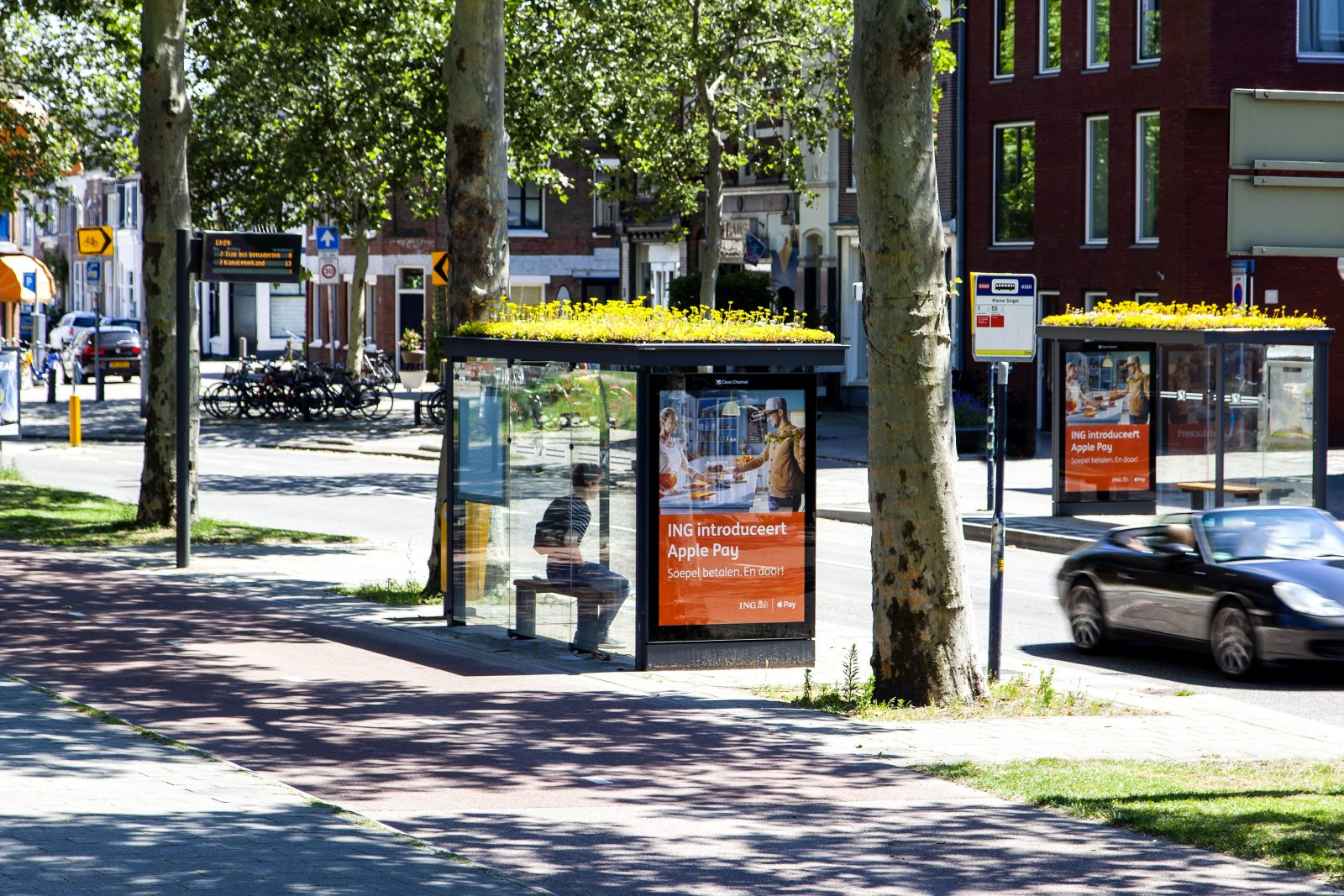 A bus shelter in the city of Utrecht with yellow flowers planted on the roof.