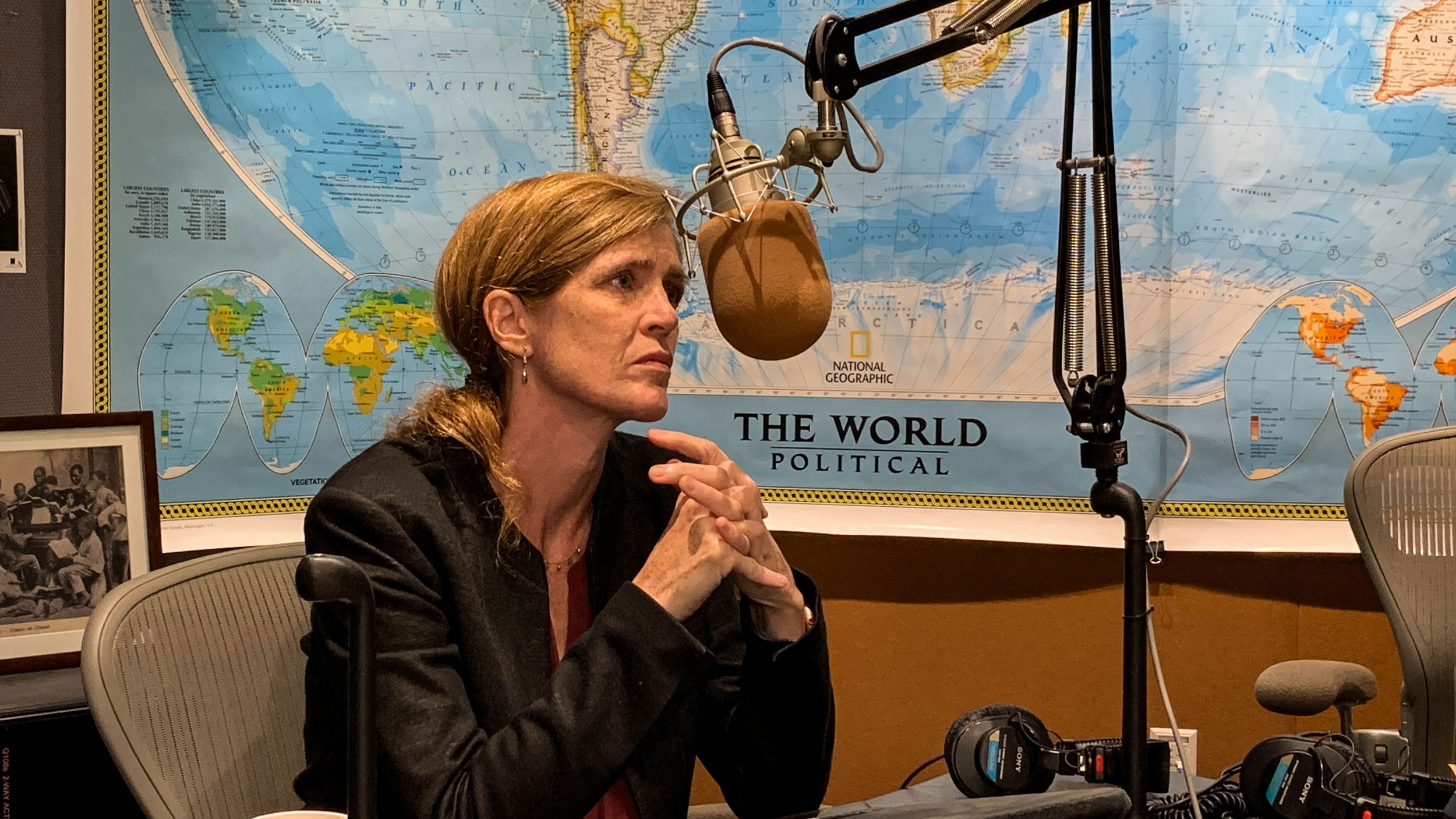 Samantha Power sitting The World's studio for a radio interview.