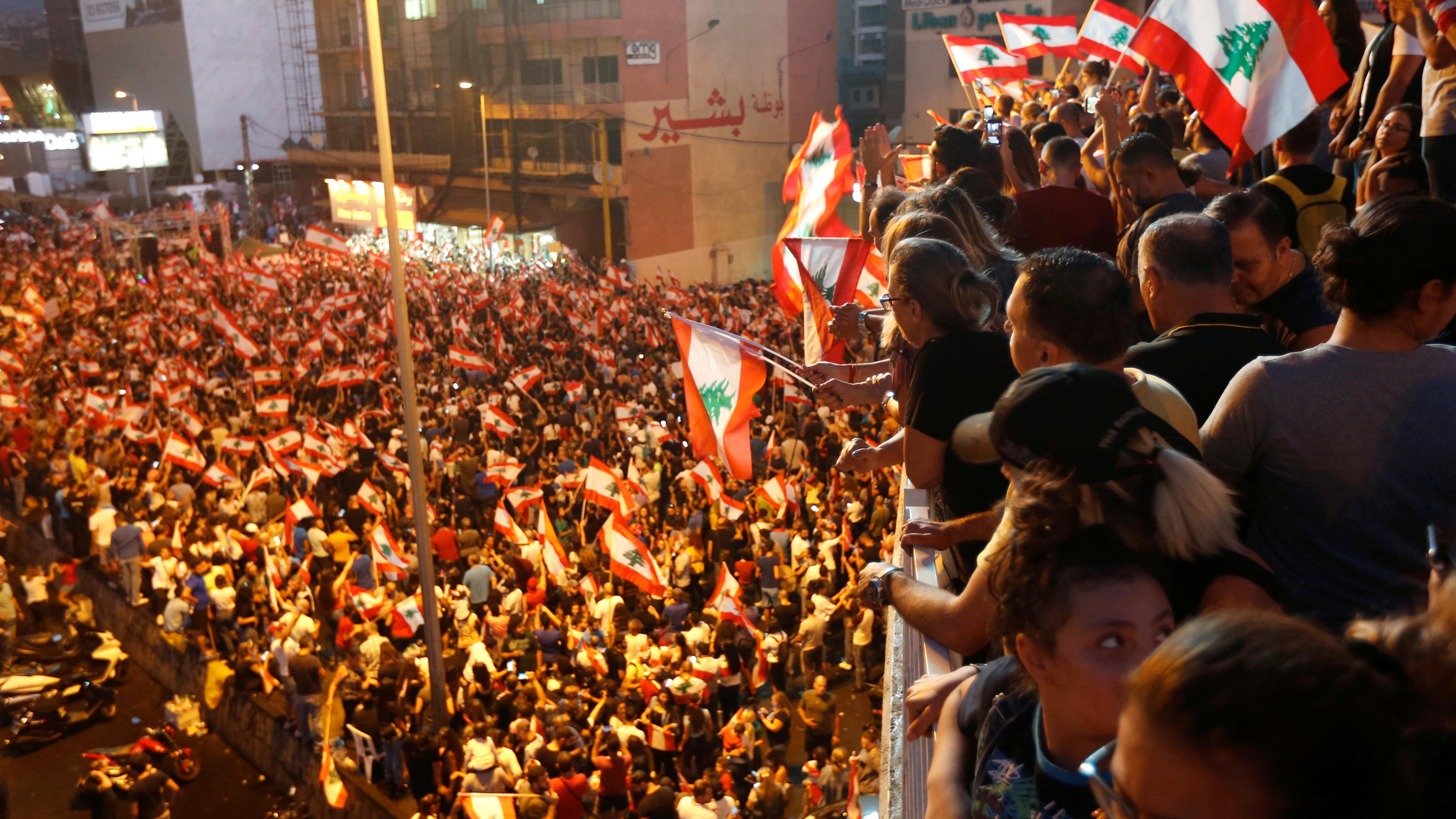 A birds-eye-view of protests in Lebanon.
