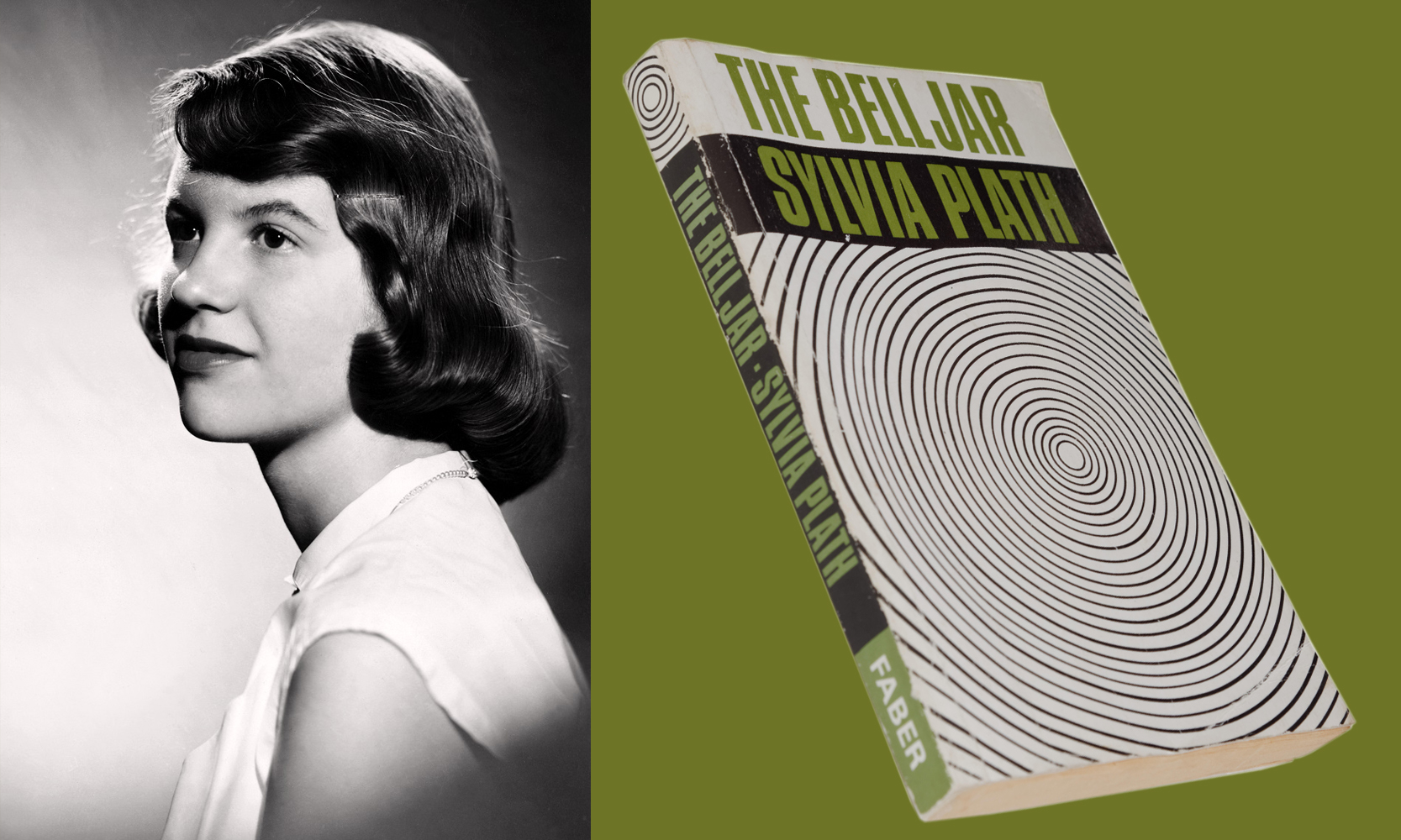 """Studio photograph of Sylvia Plath (with brown hair) by Warren Kay Vantine, 1954 and the first printing of """"The Bell Jar,"""" 1966."""