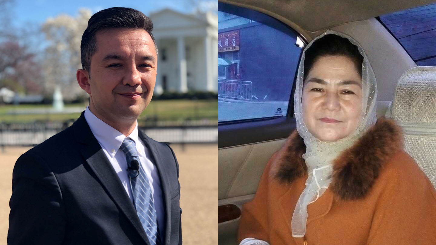 This composite shows Uighur activist Ferkat Jawdat in front of the White House in Washington, March 28, 2019. His mother Minaiwaier Tuersun is pictured on the right shortly before she was detained in Xinjiang, China, in early 2018.