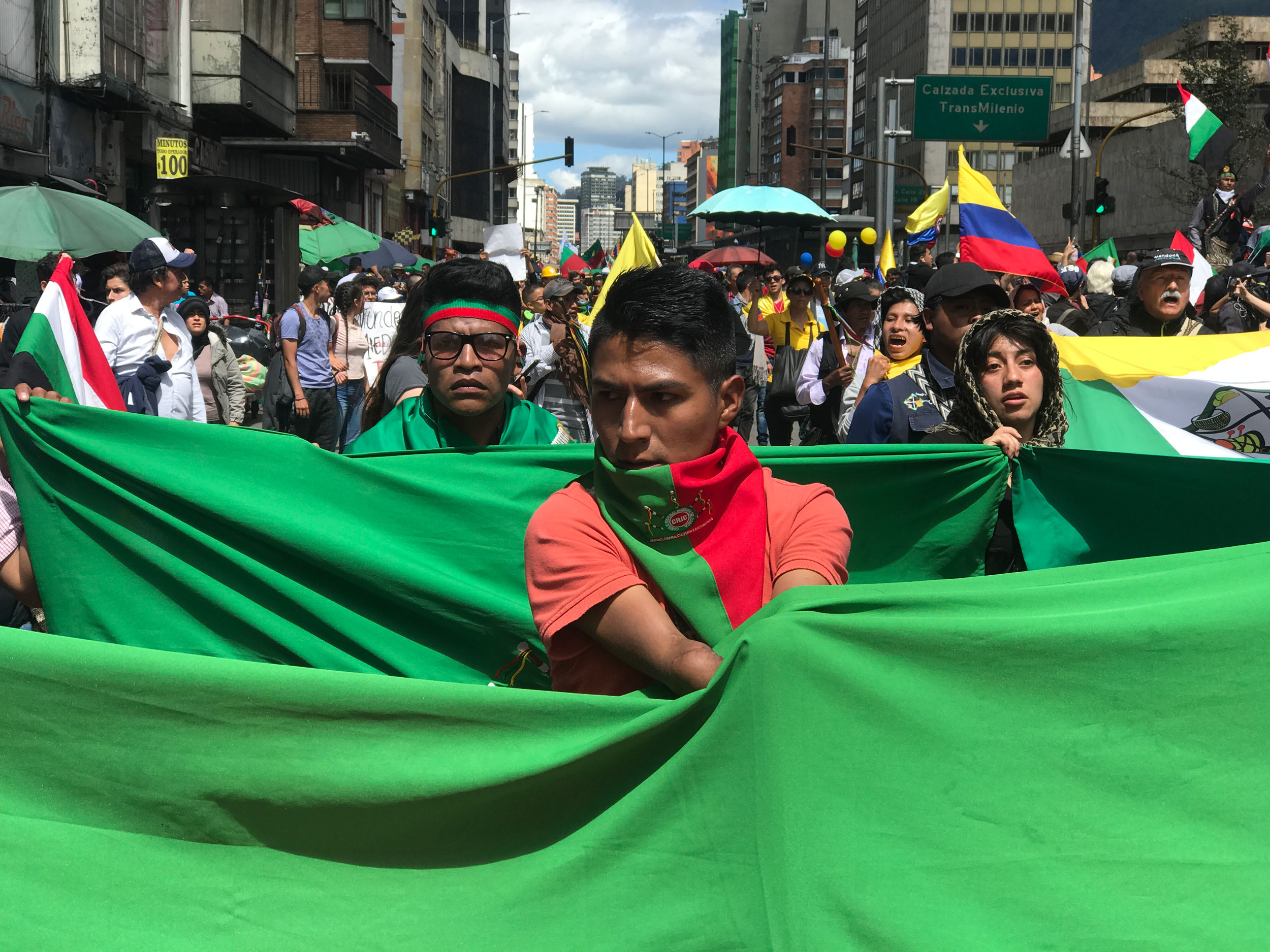 A man is shown wearing a green and red scarf and carrying a large green flag.