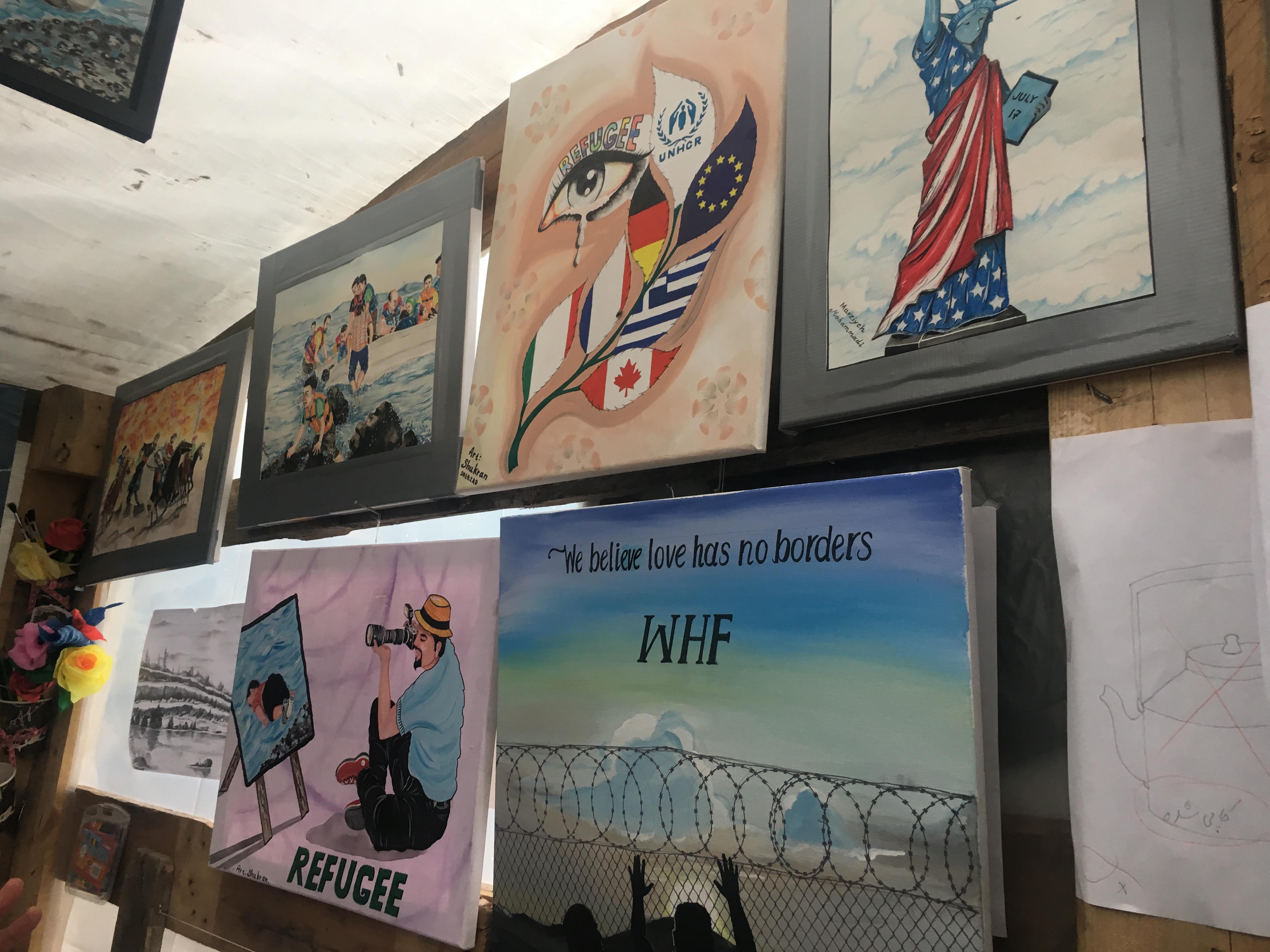 A wall of children's art work
