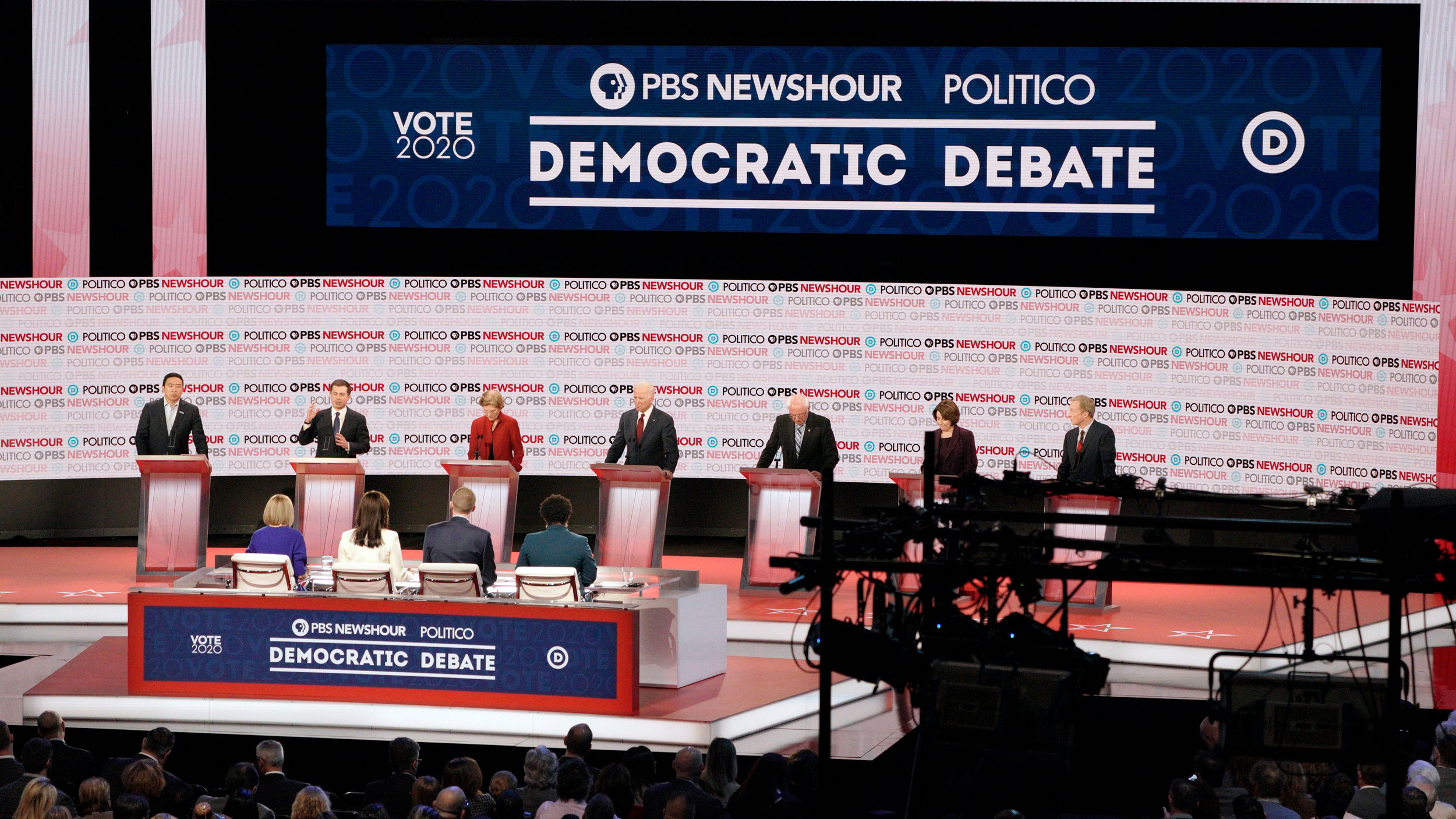 Democrats on stage behind podiums for a debate