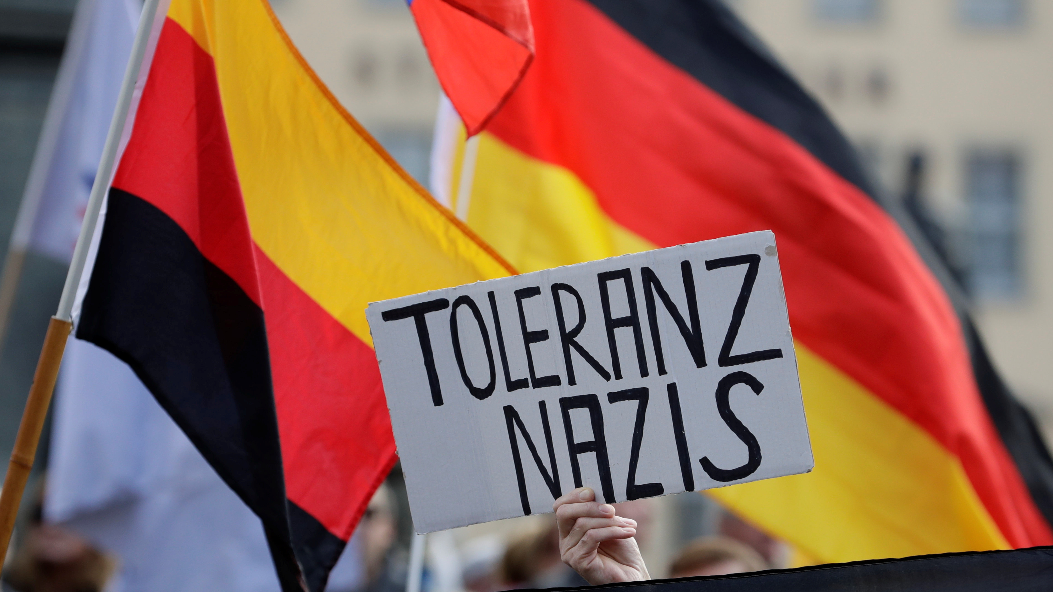 """a German flag waves and a protester holds up a sign that says """"tolerance Nazi"""""""