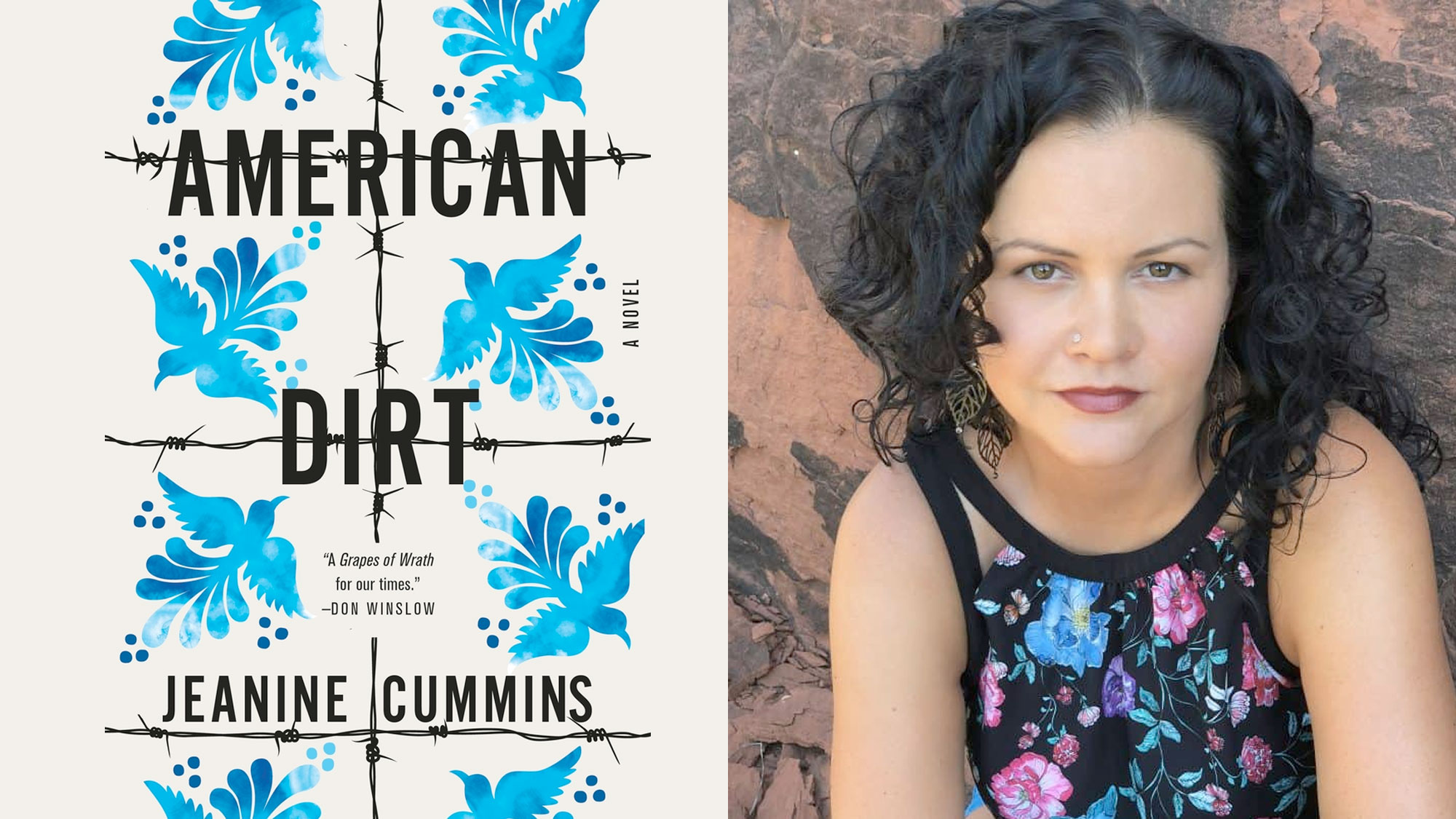 """(L) The cover of """"American Dirt"""" and (R) author Jeanine Cummins."""