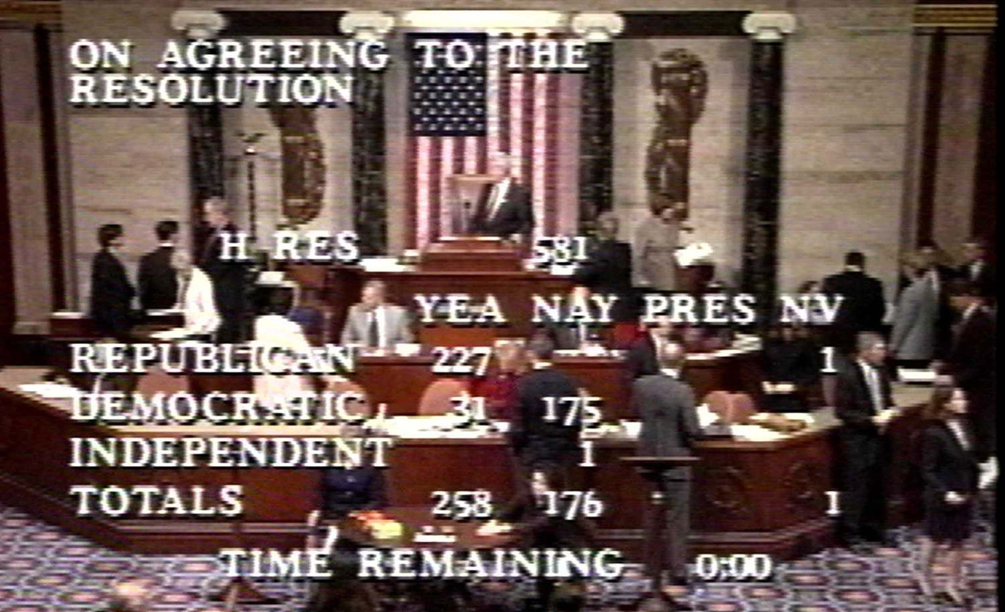 House television system screenshot of the House of Representatives