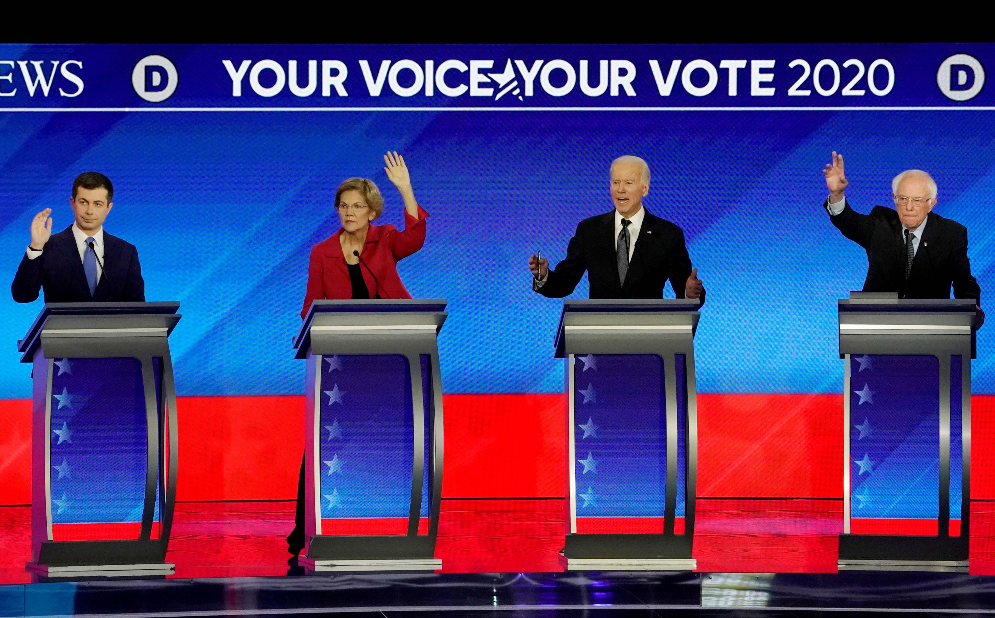Democratic2020 USpresidential candidates (left to right) former South Bend Mayor Pete Buttigieg, Senator Elizabeth Warren, former Vice President Joe Biden and Senator Bernie Sanders participate in the eighthDemocratic2020 presidentialdebate.