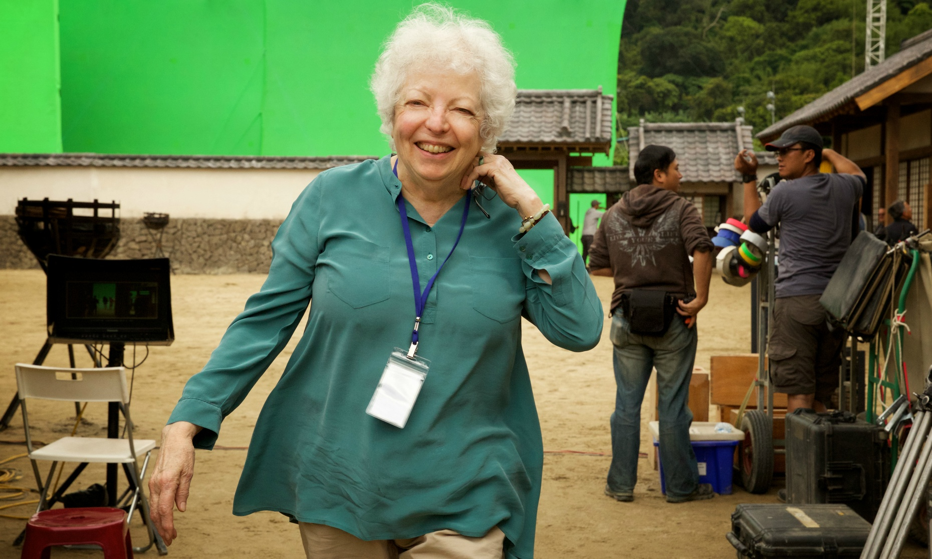 "Thelma Schoonmaker on the set of ""Silence."""