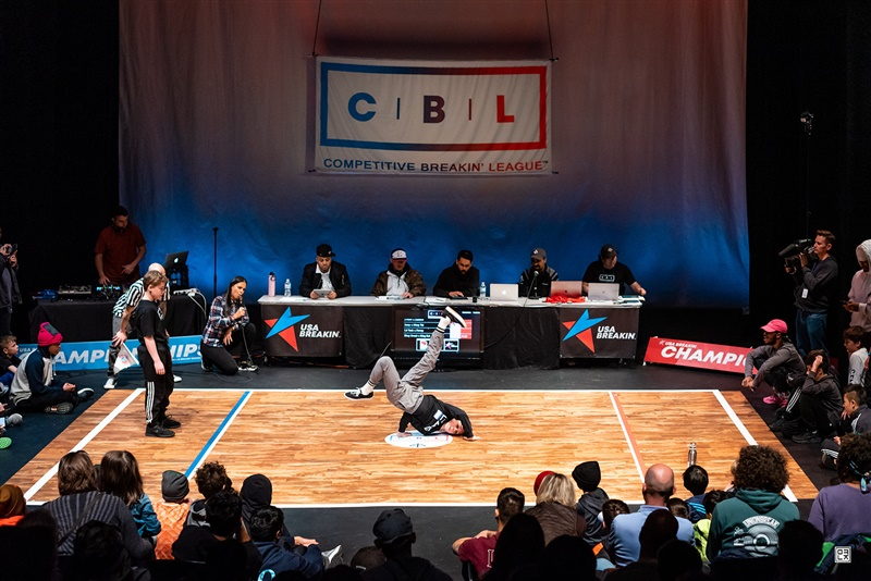 A competitor performs breakdance moves at the Breakdancing Northeast Regionals in suburban Washington, DC, on March 8, 2020.