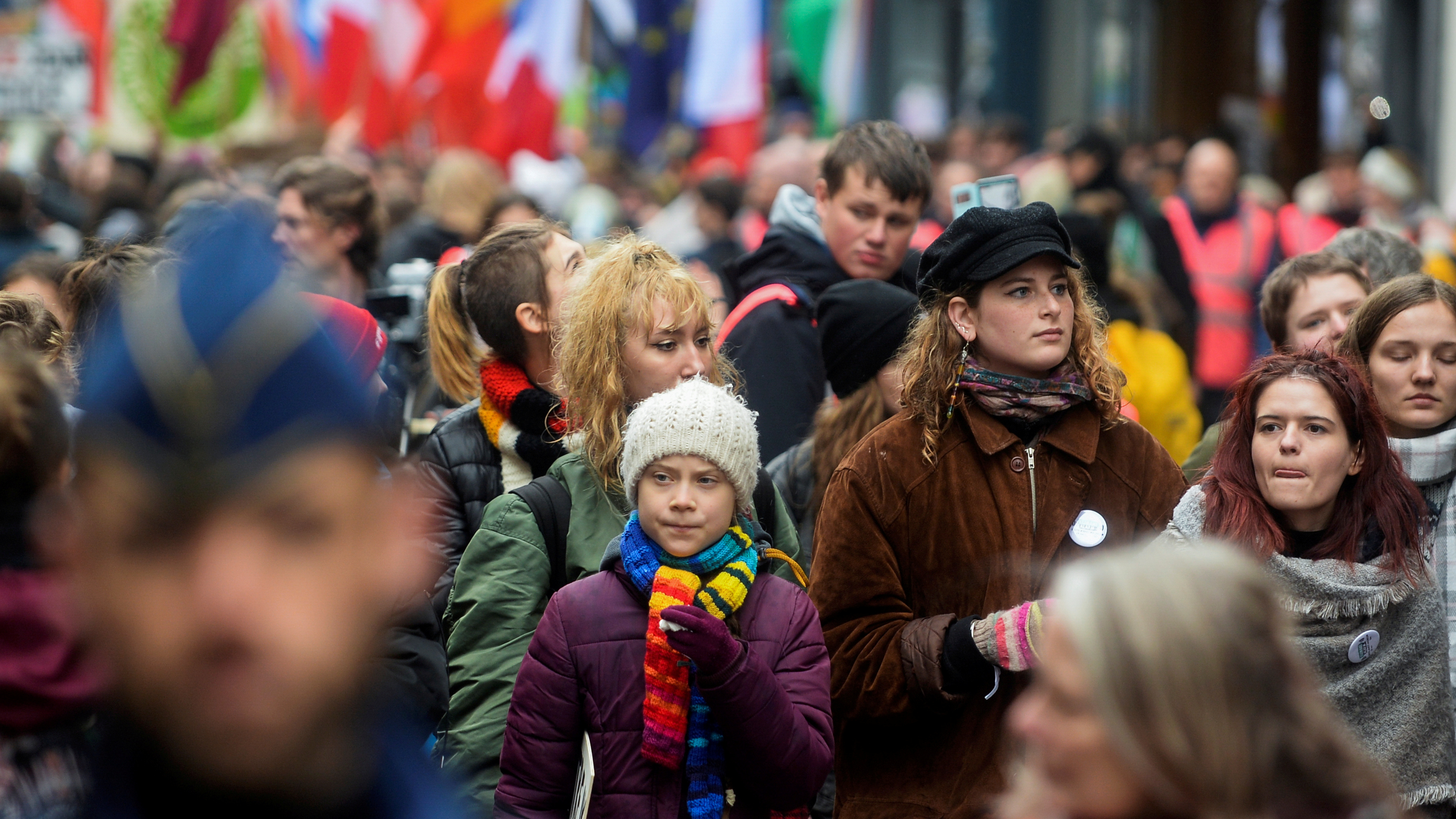 """Swedish climate activist Greta Thunberg takes part in the ''Europe Climate Strike."""""""