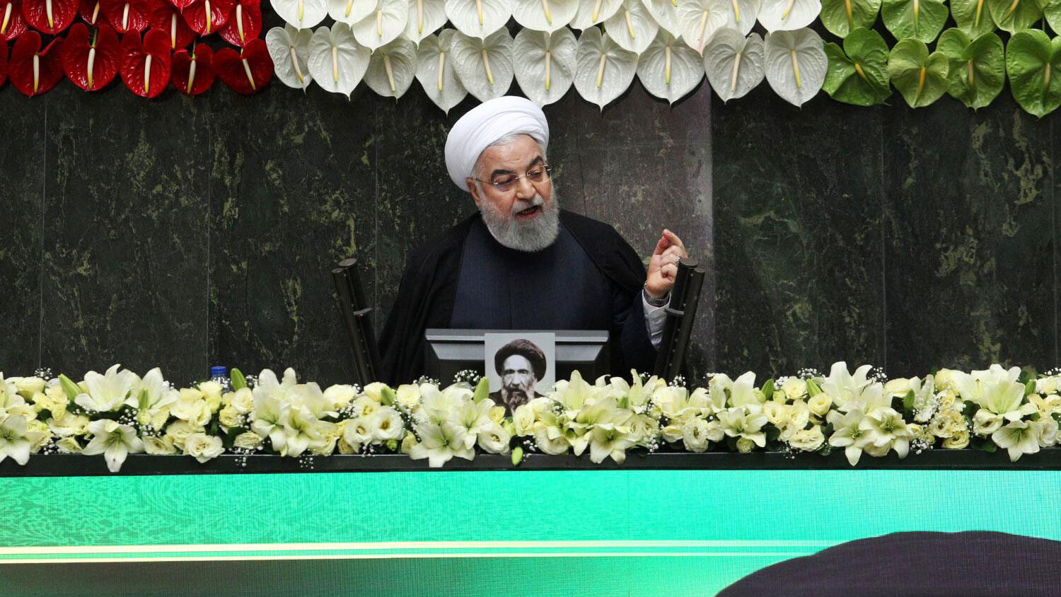 Iranian President Hassan Rouhani speaks during the opening ceremony of Iran's 11th parliament in Tehran, Iran, May 27, 2020.