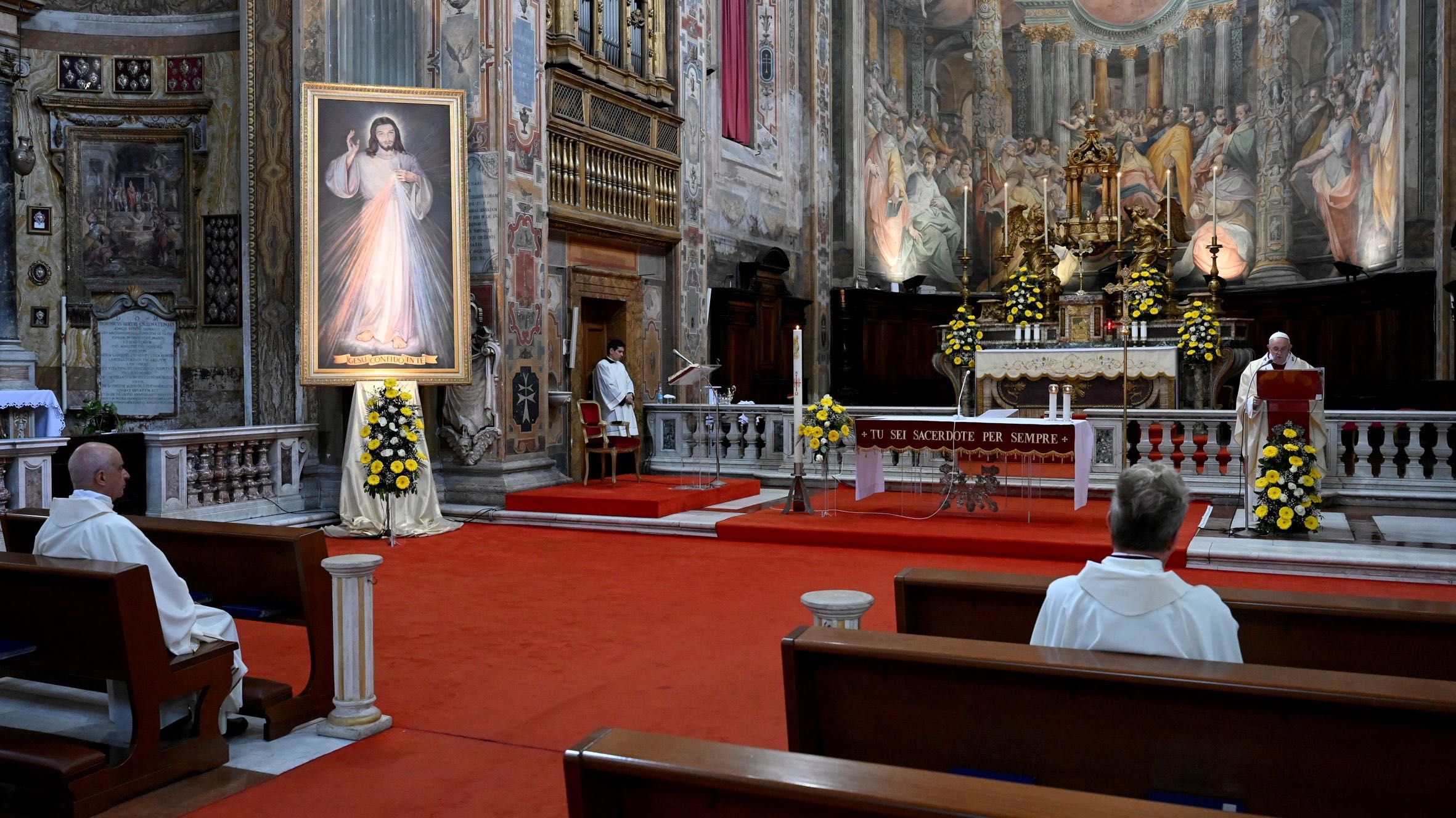 Pope Francis leads Mass and the Regina Coeli prayer in Rome's Santo Spirito in Sassia church without public participation due to an outbreak of the coronavirus disease (COVID-19), in Rome, April 19, 2020.