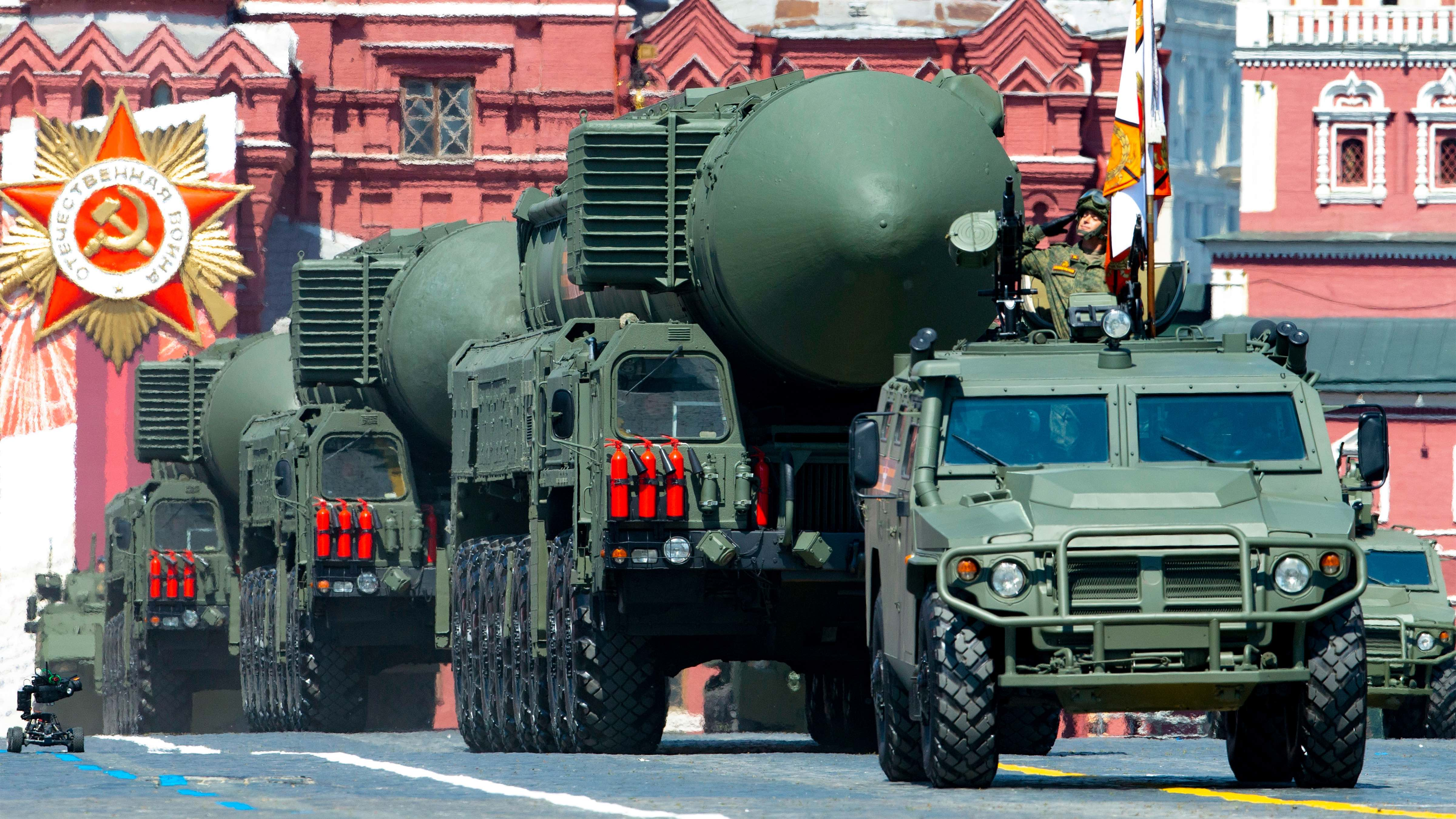 In this file photo taken on Wed. June 24, 2020, Russian RS-24 Yars  ballistic missiles