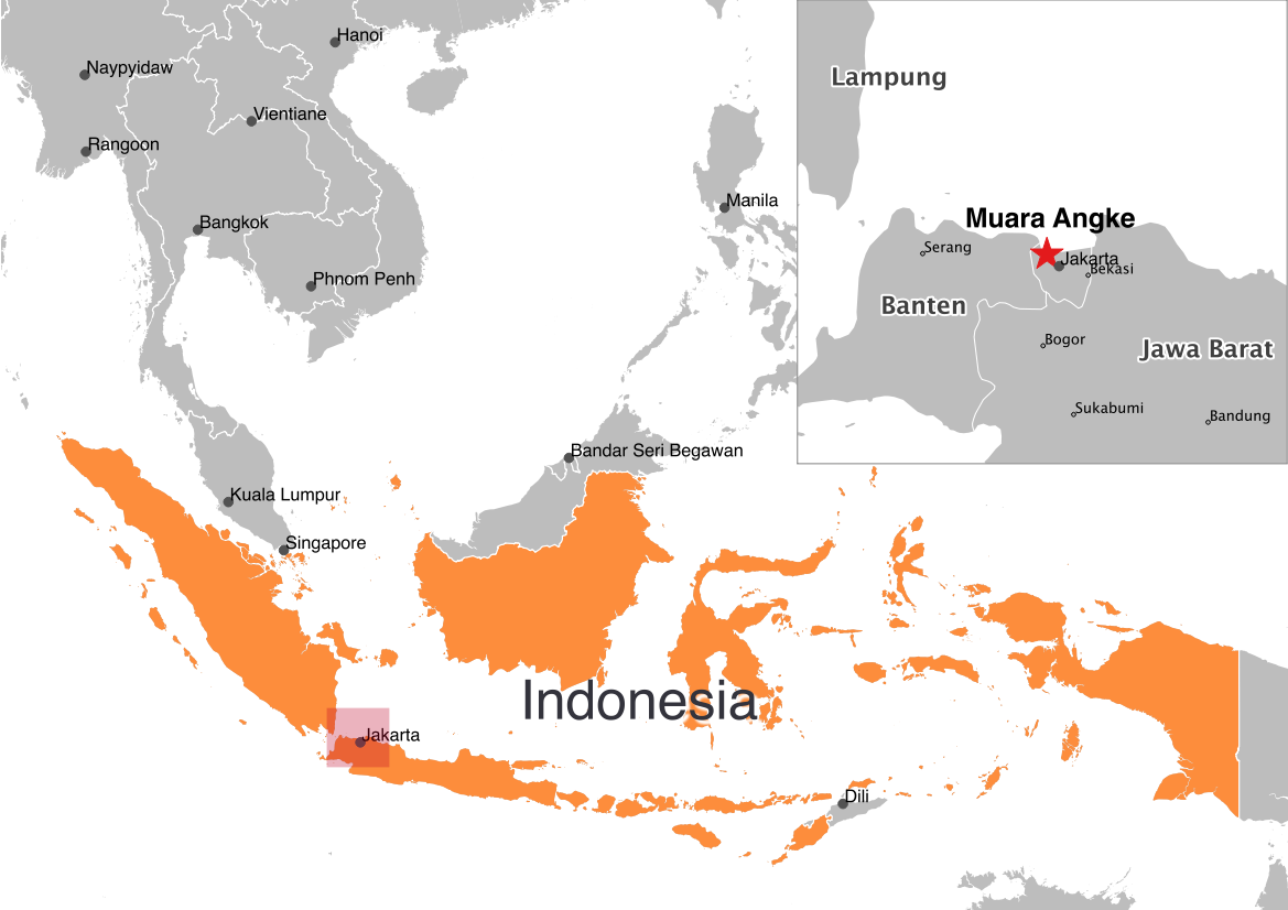 map Muara Angke Indonesia plastic in ocean