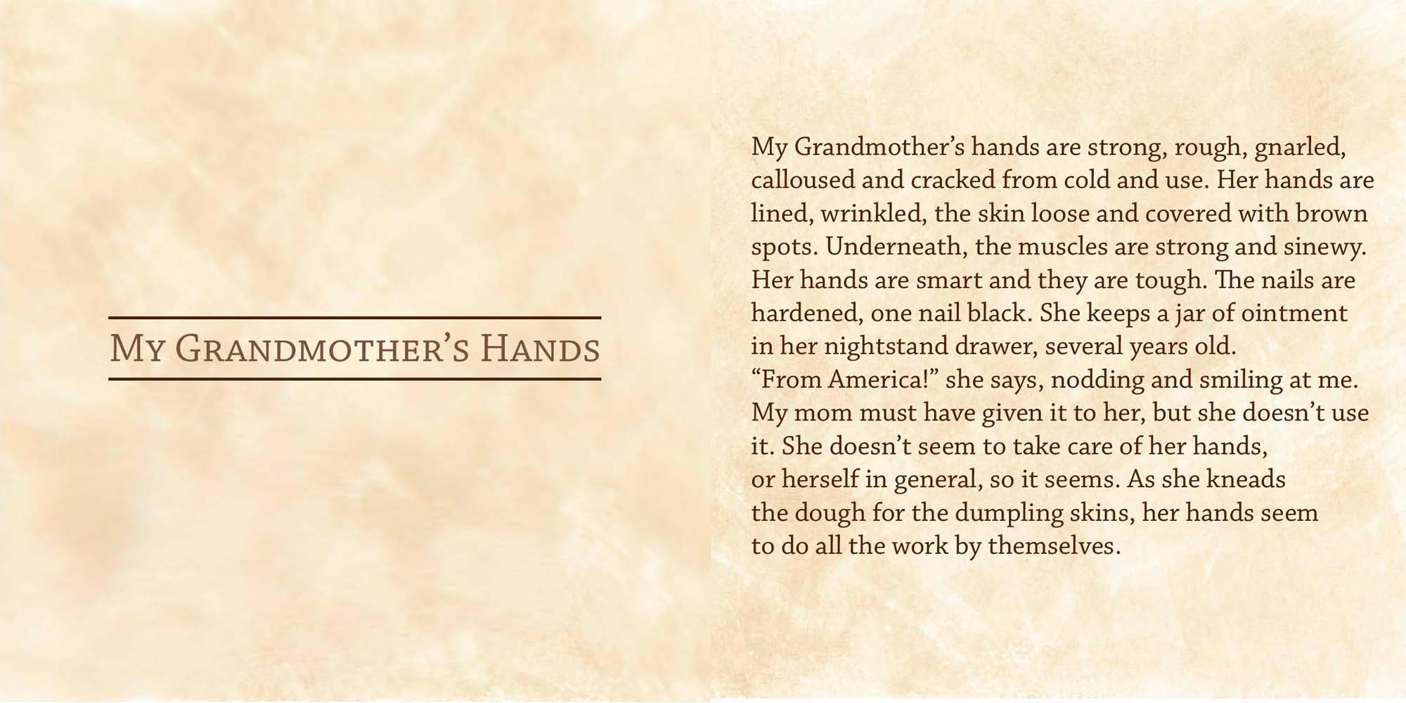 Text about Katherine's grandmother's rough hands