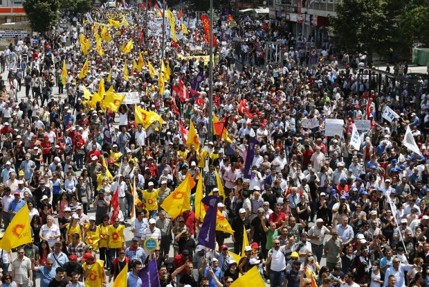 Anti-government protesters march during a demonstration in Ankara, Turkey.