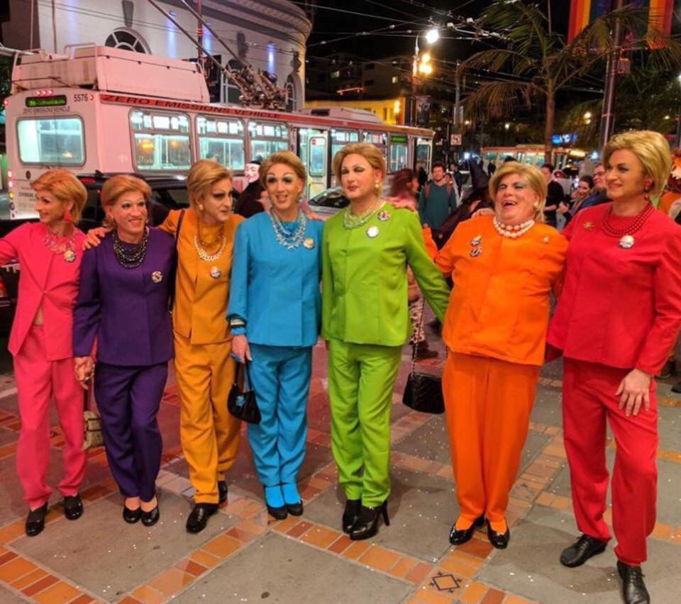 Actress Lisa Edelstein posted this photo snapped in San Francisco's Castro district. Clinton supporters across the country have been donning pantsuits in homage to the Democratic candidate for days prior to the election.