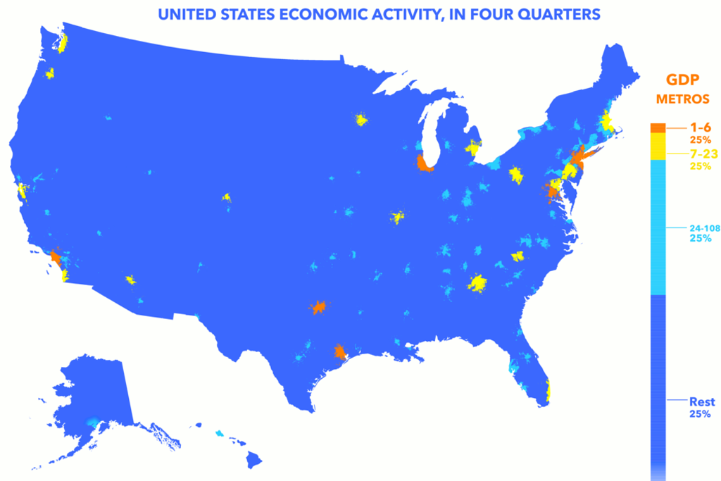 Six Metro Areas New York Los Angeles Chicago Washington D C Dallas And Houston Account For Almost A Quarter Of The Nation S 16 8 Trillion Economy