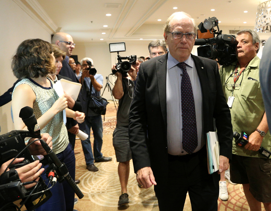 Richard McLaren, who was appointed by the World Anti-Doping Agency (WADA) to head an independent investigative team, walks out off the room after presenting his report in Toronto, Ontario, Canada July 18, 2016.