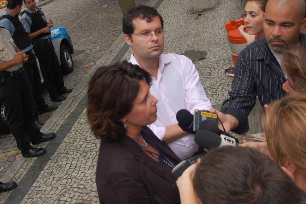 US consulate spokeswoman Orna Blum talks to the media in Rio de Janeiro.