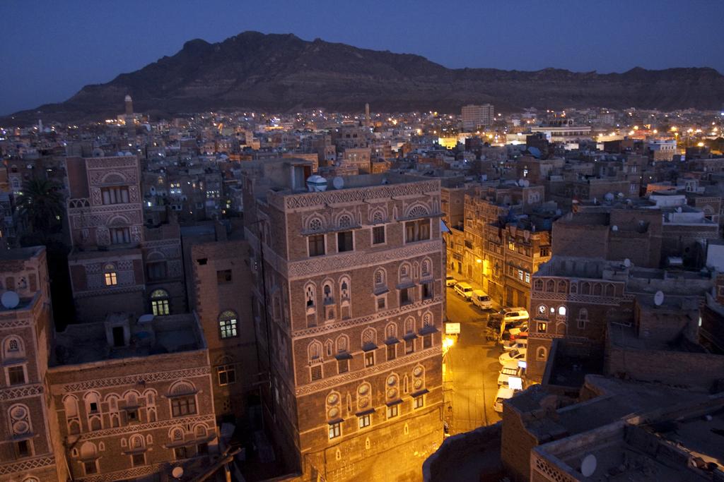 Sana'a Old City in Yemen at night