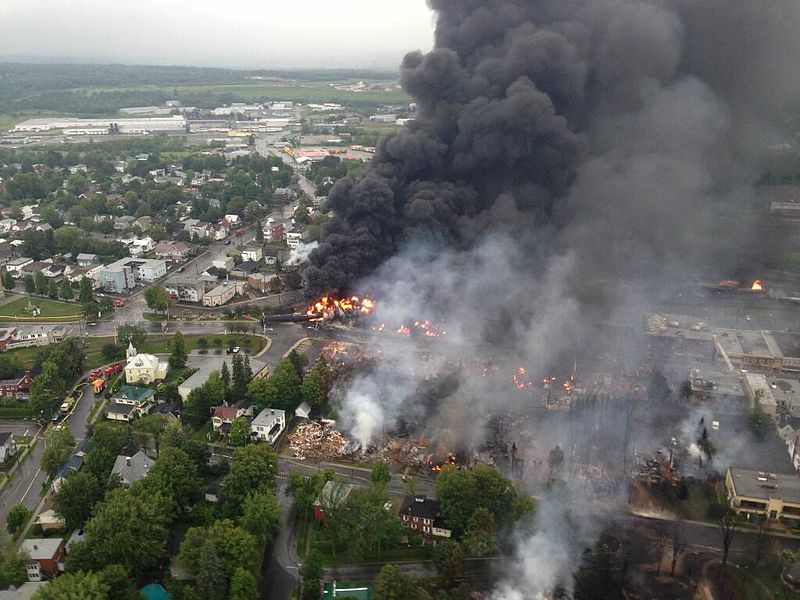 Officials released this view view of Lac-Mégantic, the day of the derailment, taken from a police helicopter.